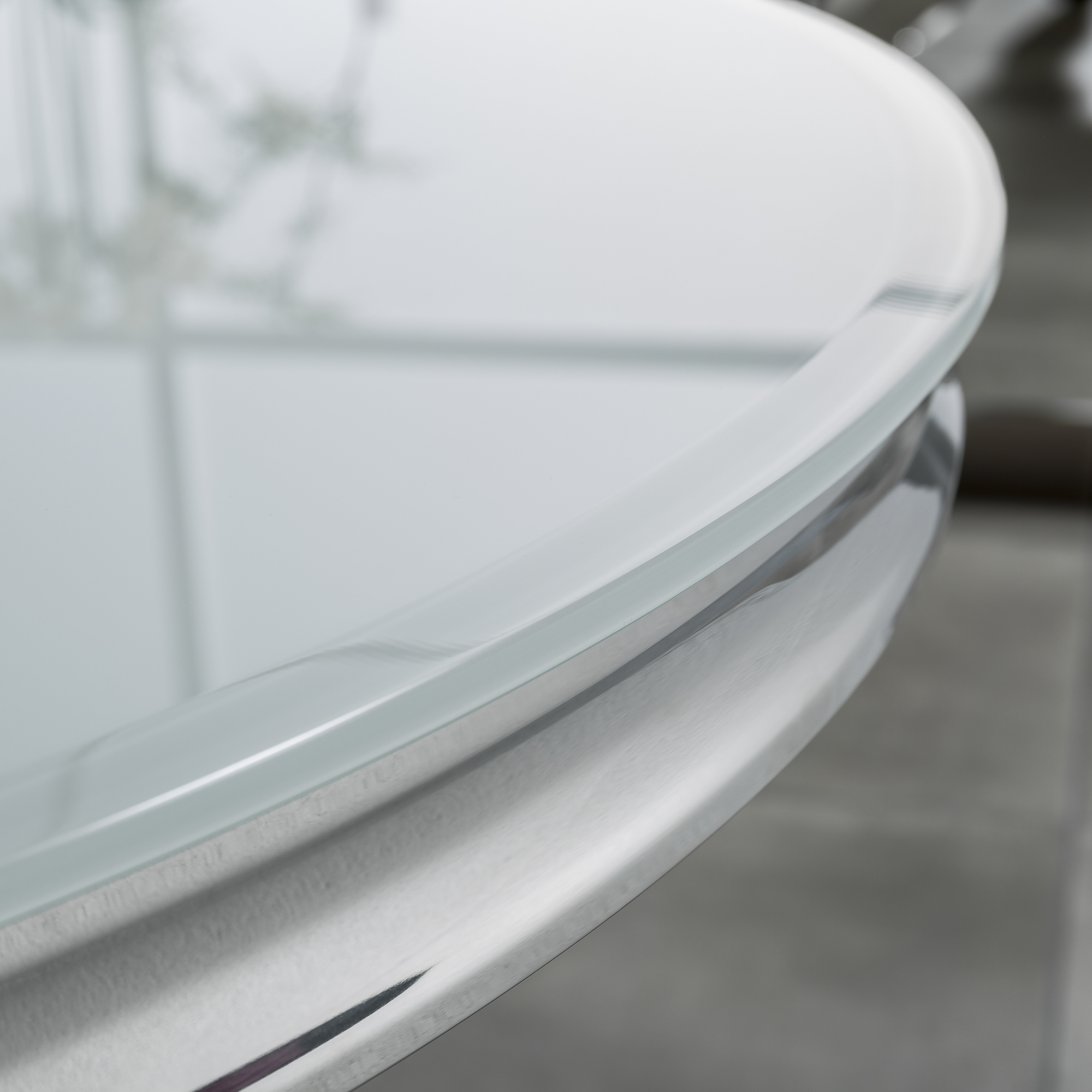 1.3m Round Glass Dining Table in White With Polished Steel Base