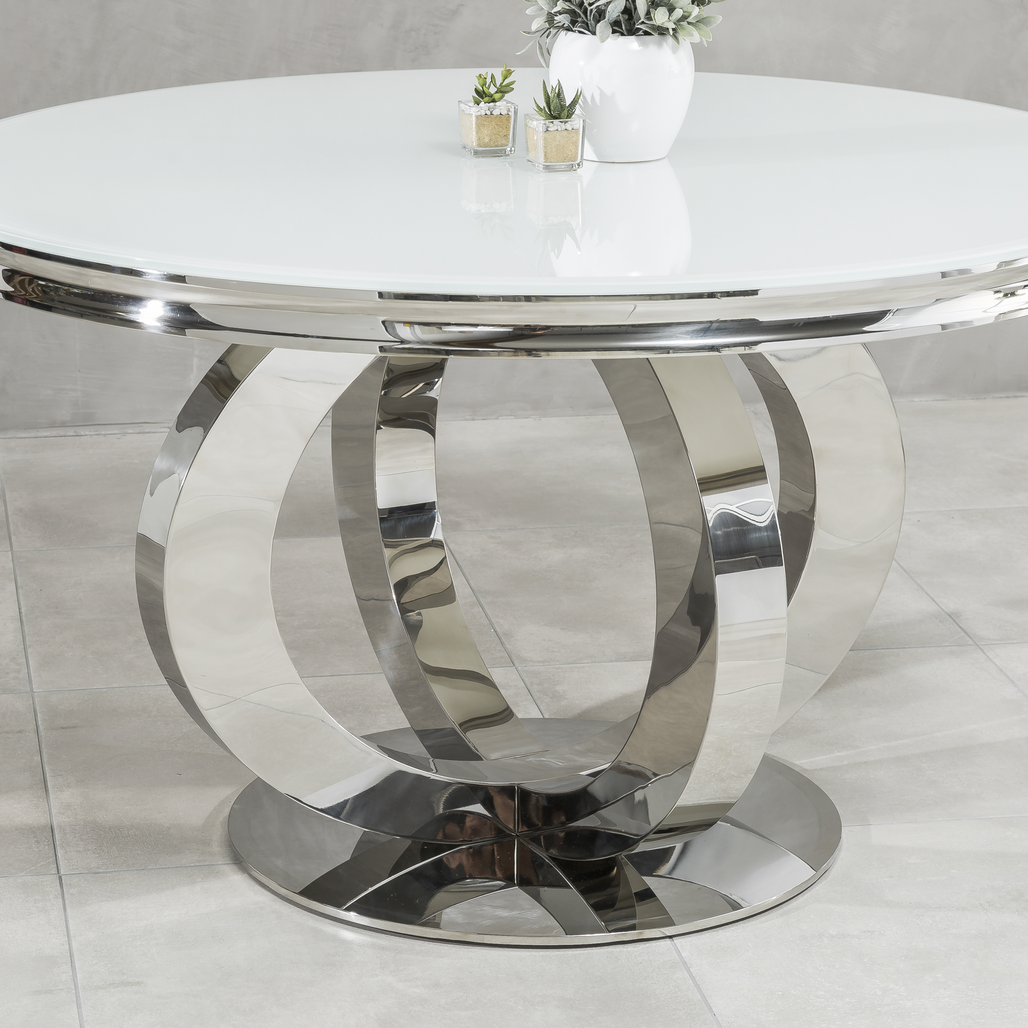 1.3M Polished Circular Stainless Steel Dining Table with White Glass