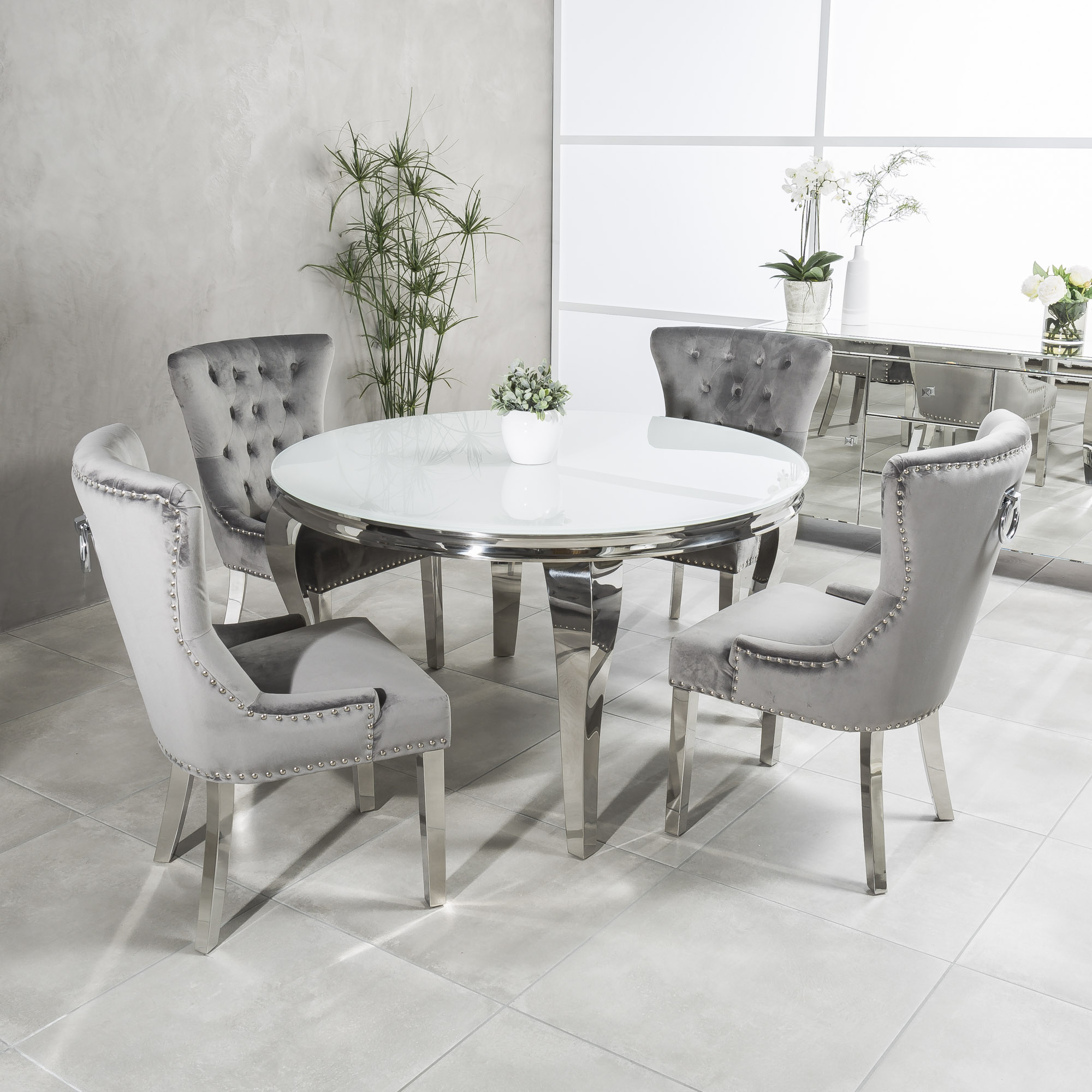 1.3m Louis Round Steel & White Glass Dining Table Set x 4 Grey Dining Chairs