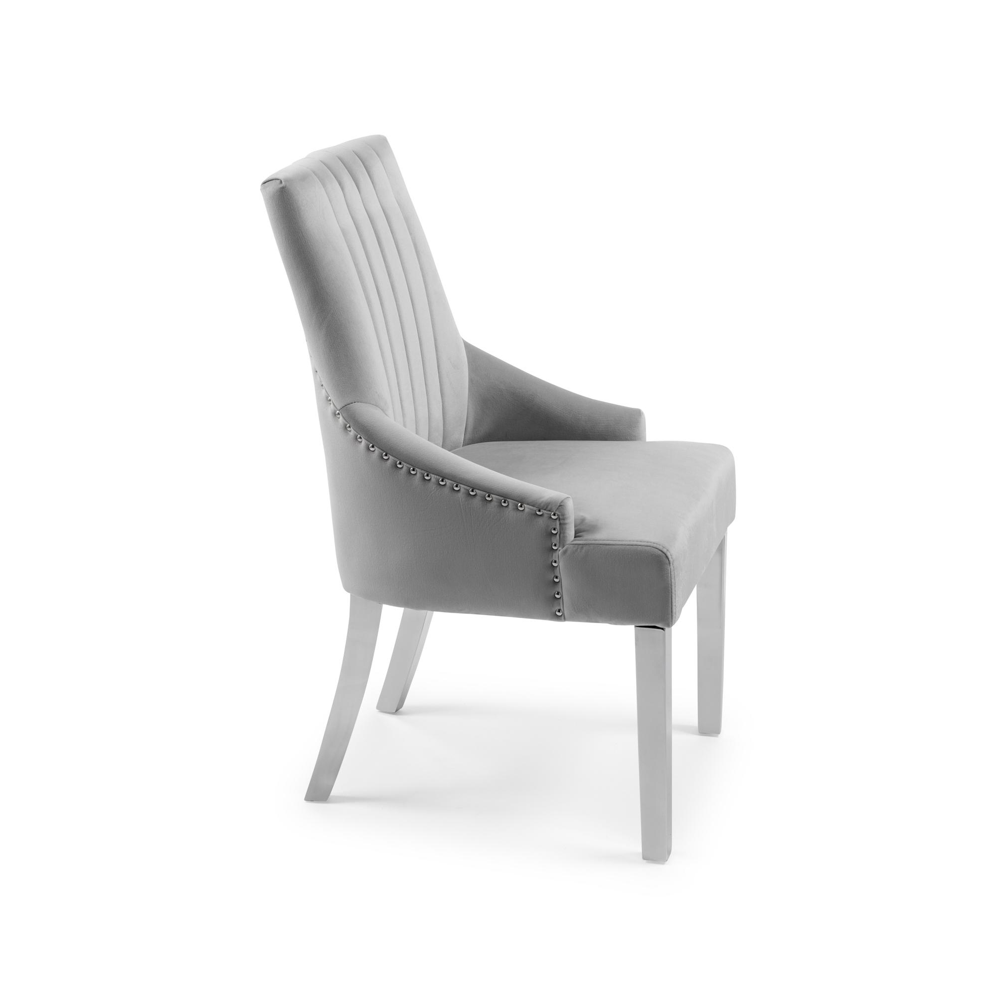 Chelsea Dove Grey Brushed Velvet Upholstered Scoop Dining Chair (Stainless Steel Legs)