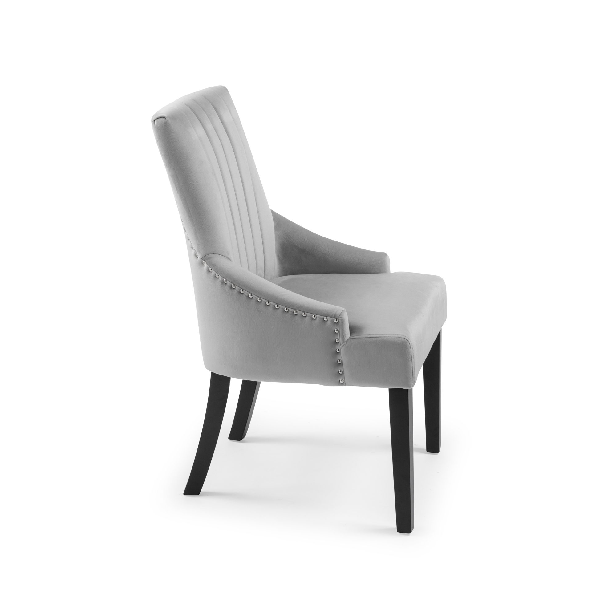 Chelsea Dove Grey Brushed Velvet Upholstered Scoop Dining Chair