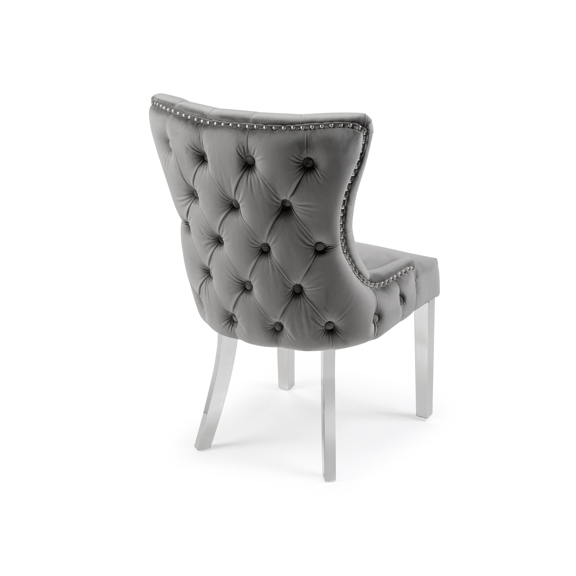 Small Circular Dining Table and Chairs Set – Grey Marble Table + 4 Buttoned Brushed Velvet Dining Chairs
