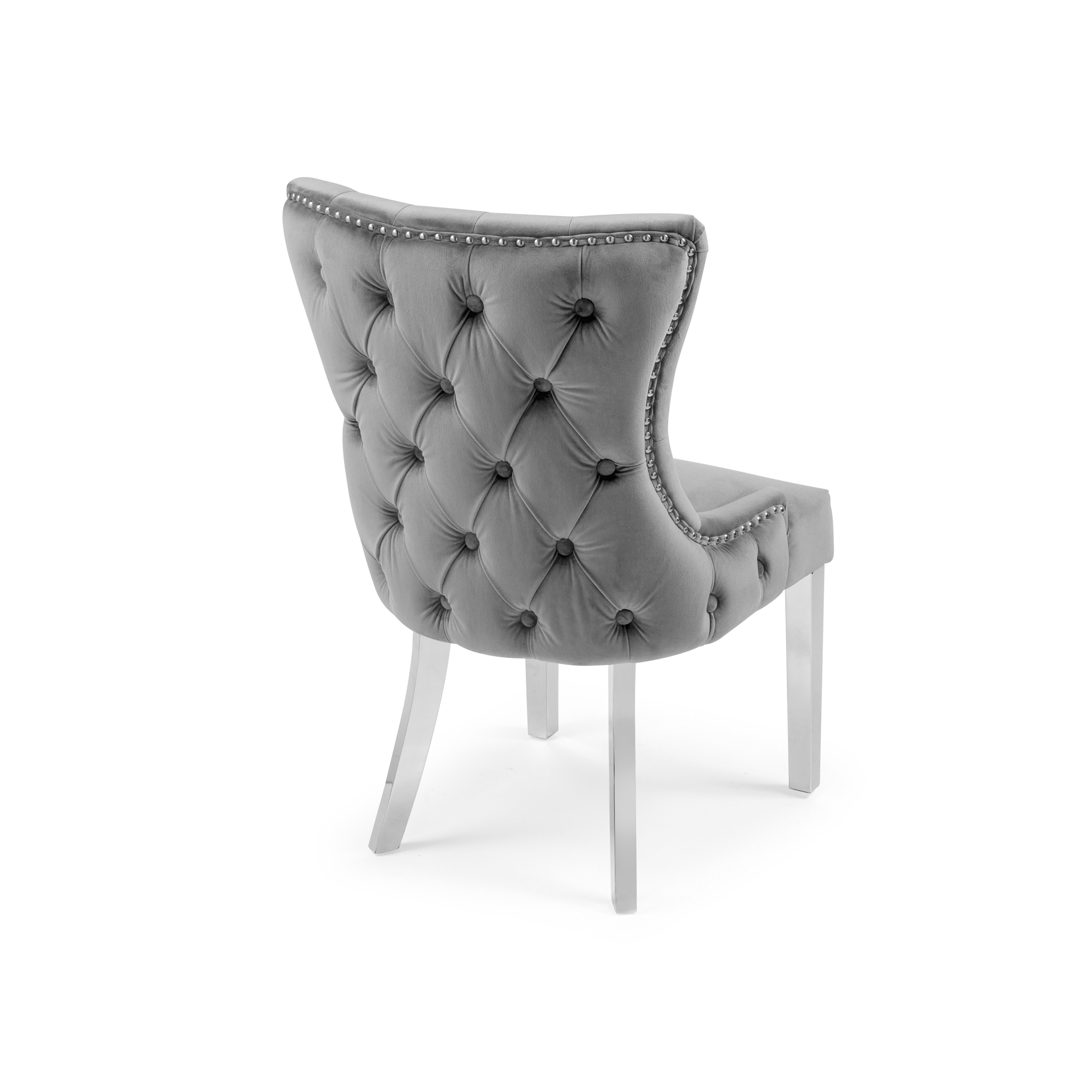 Knightsbridge Buttoned Grey Brushed Velvet Dining Chair with Polished Stainless Steel Legs