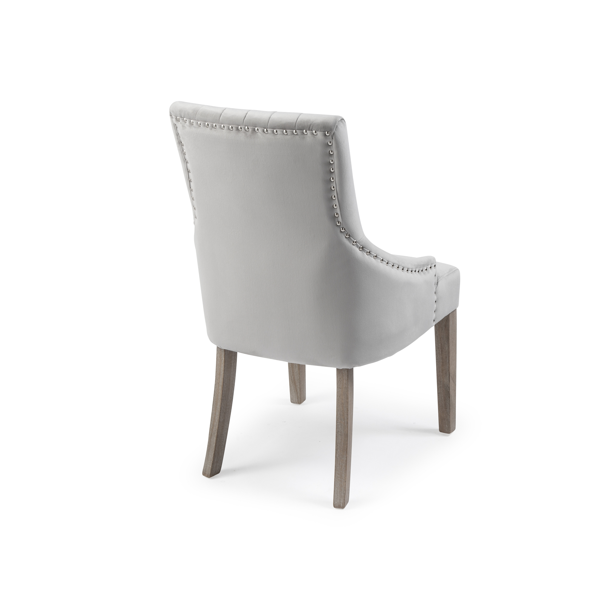Chelsea Dove Grey Brushed Velvet Upholstered Scoop Dining Chair – White Washed Legs