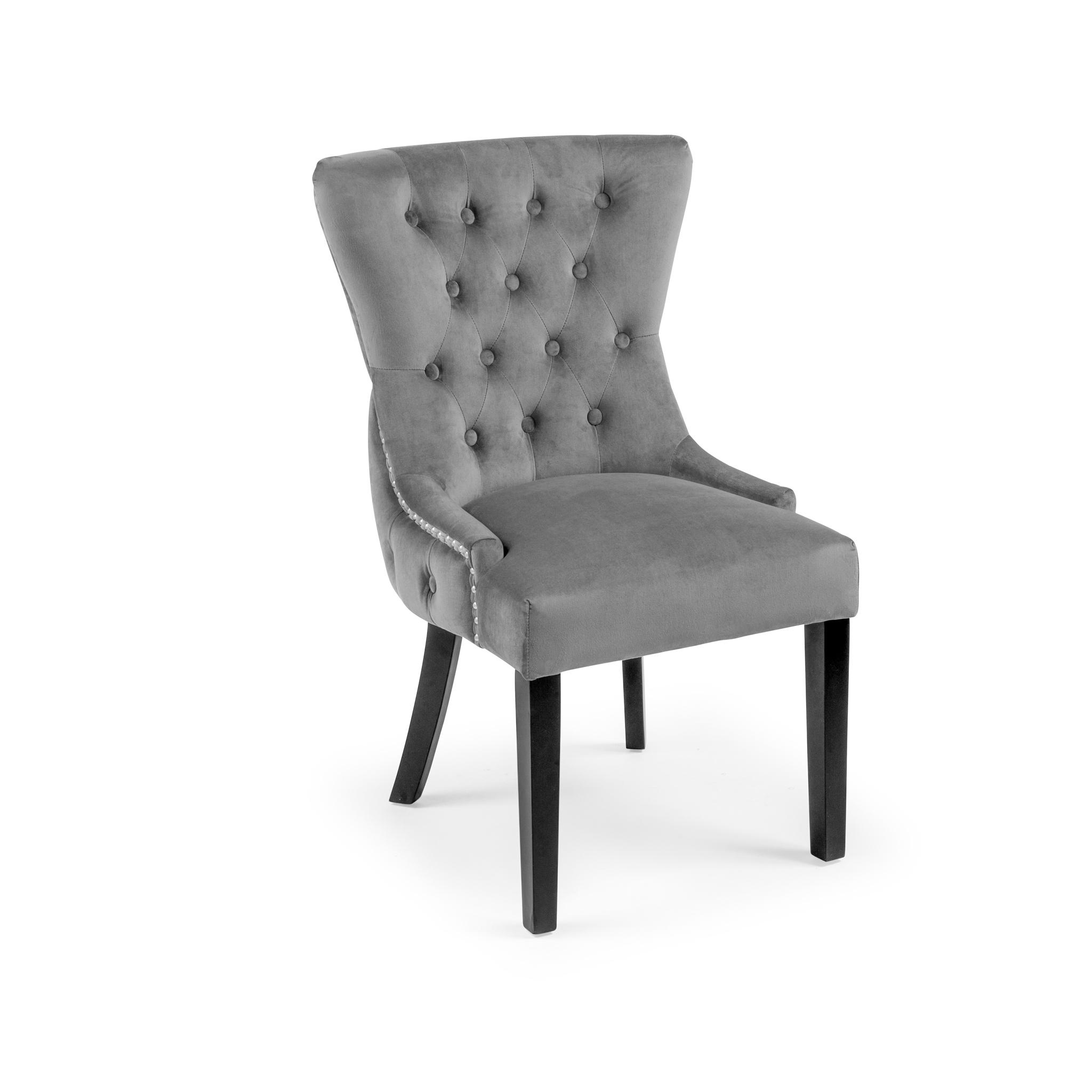 Knightsbridge Buttoned Brushed Velvet Dining Chair – Grey