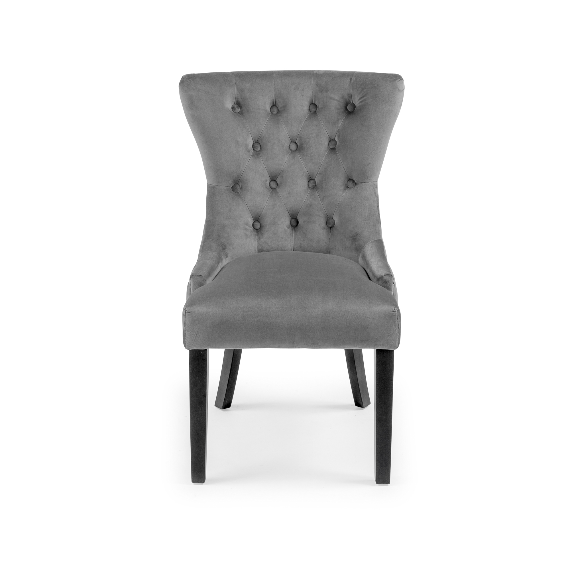Knightsbridge Buttoned Grey Brushed Velvet Dining Chair with Black Legs
