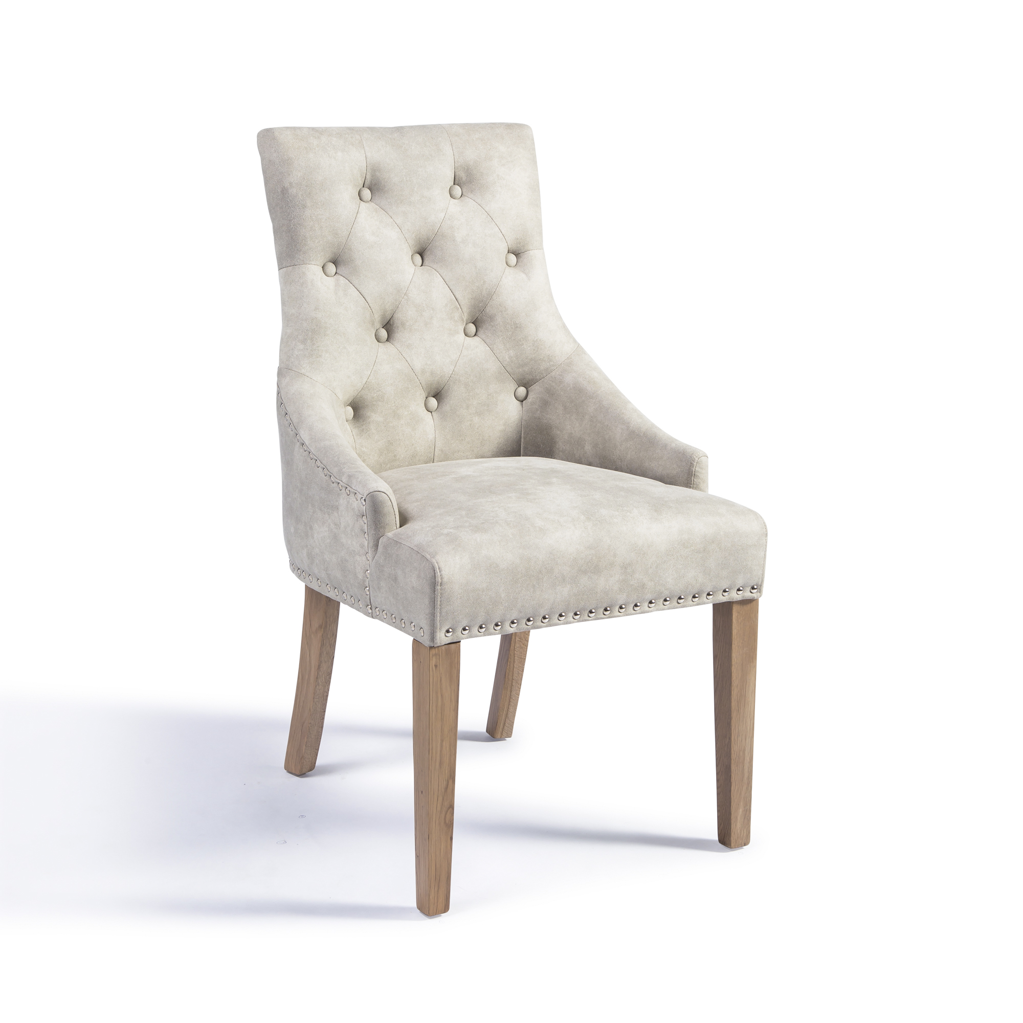 Chelsea Upholstered Scoop Dining Chair in Cream Buck Fabric with Hoop Handle and Oak Legs
