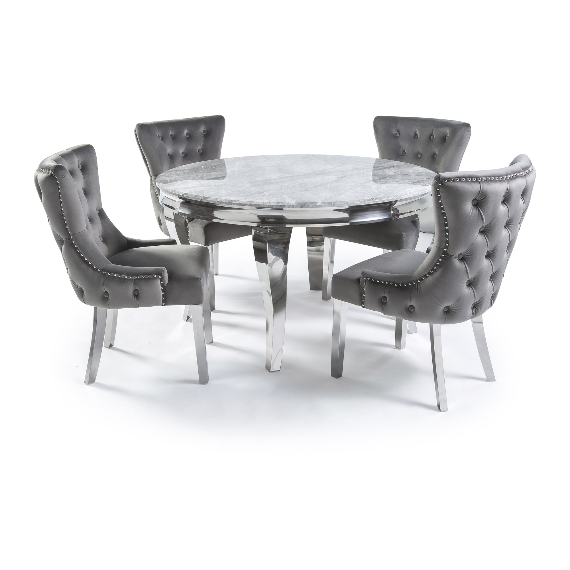 1 3m Polished Steel Round Grey Marble Dining Table Set X 4 Grey Velvet Chairs Grosvenor Furniture