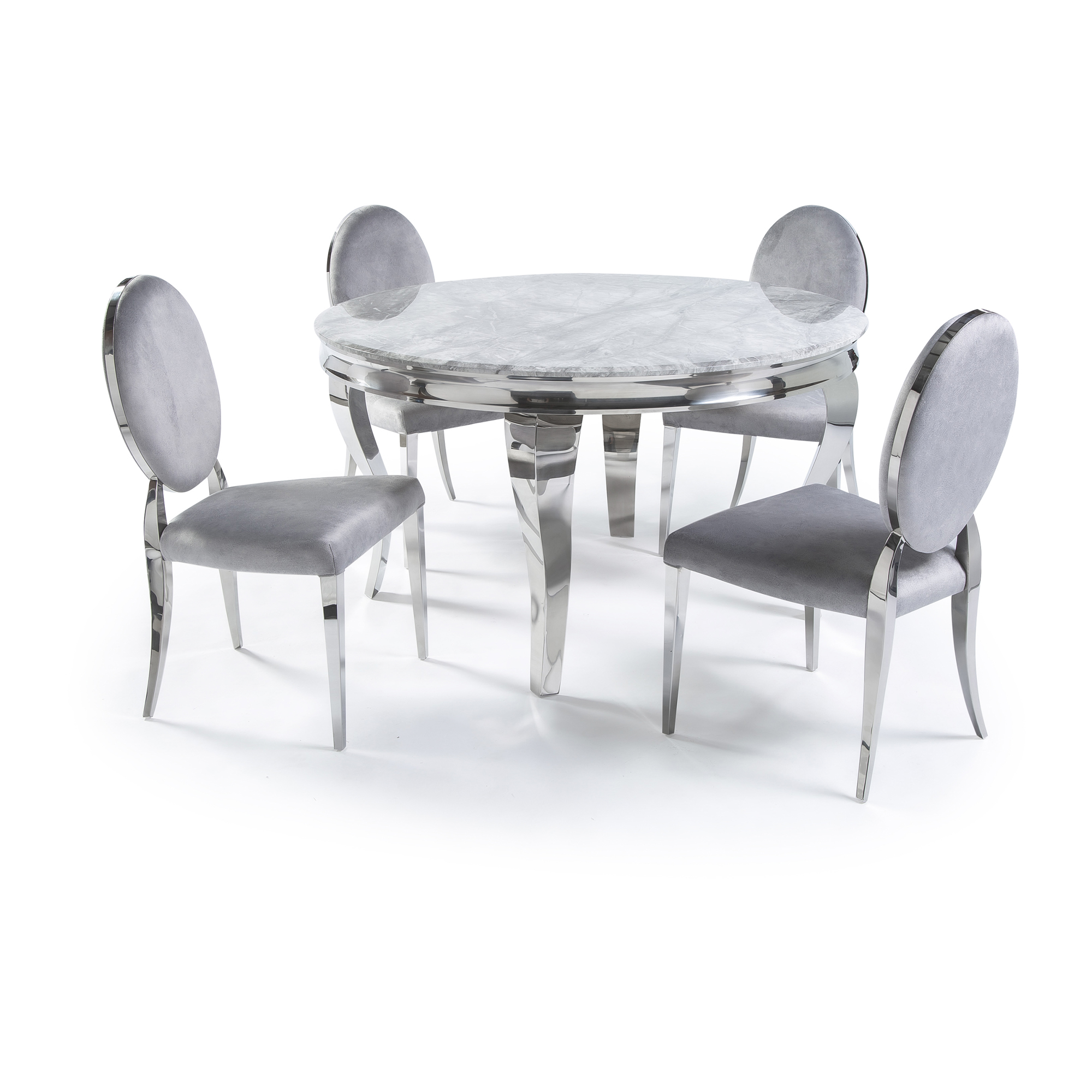 1.3m Circular Louis Polished Steel Dining Grey Marble Table Set with 4 Louis Grey Brushed Velvet Dining Chair
