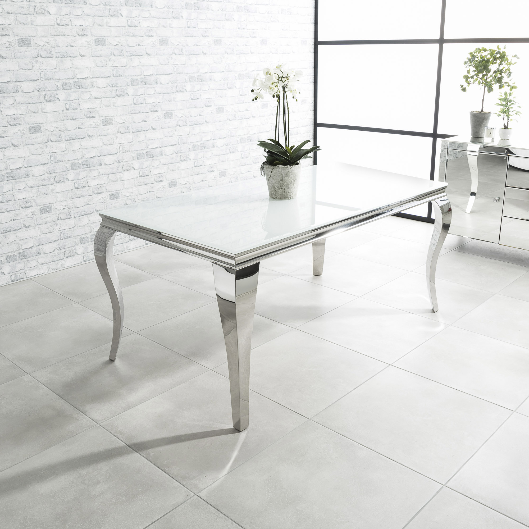 1.6m Louis Polished Steel Dining White Glass Table Set with 4 Grey Brushed Velvet Dining Chairs