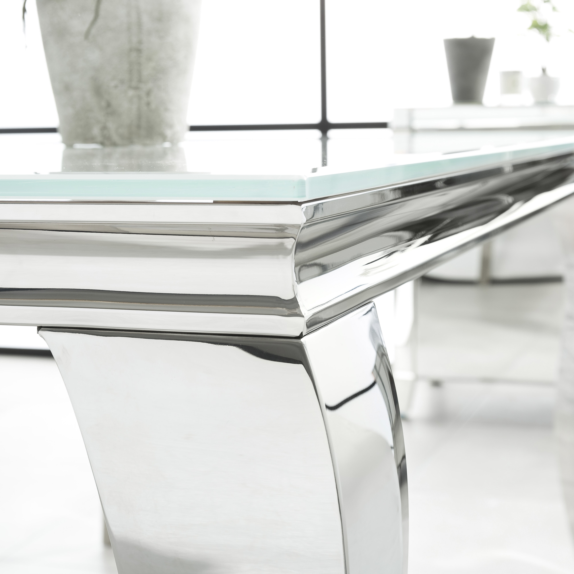 1.6m Louis Polished Steel Dining White Glass Table Set with 6 Grey Brushed Velvet Dining Chairs