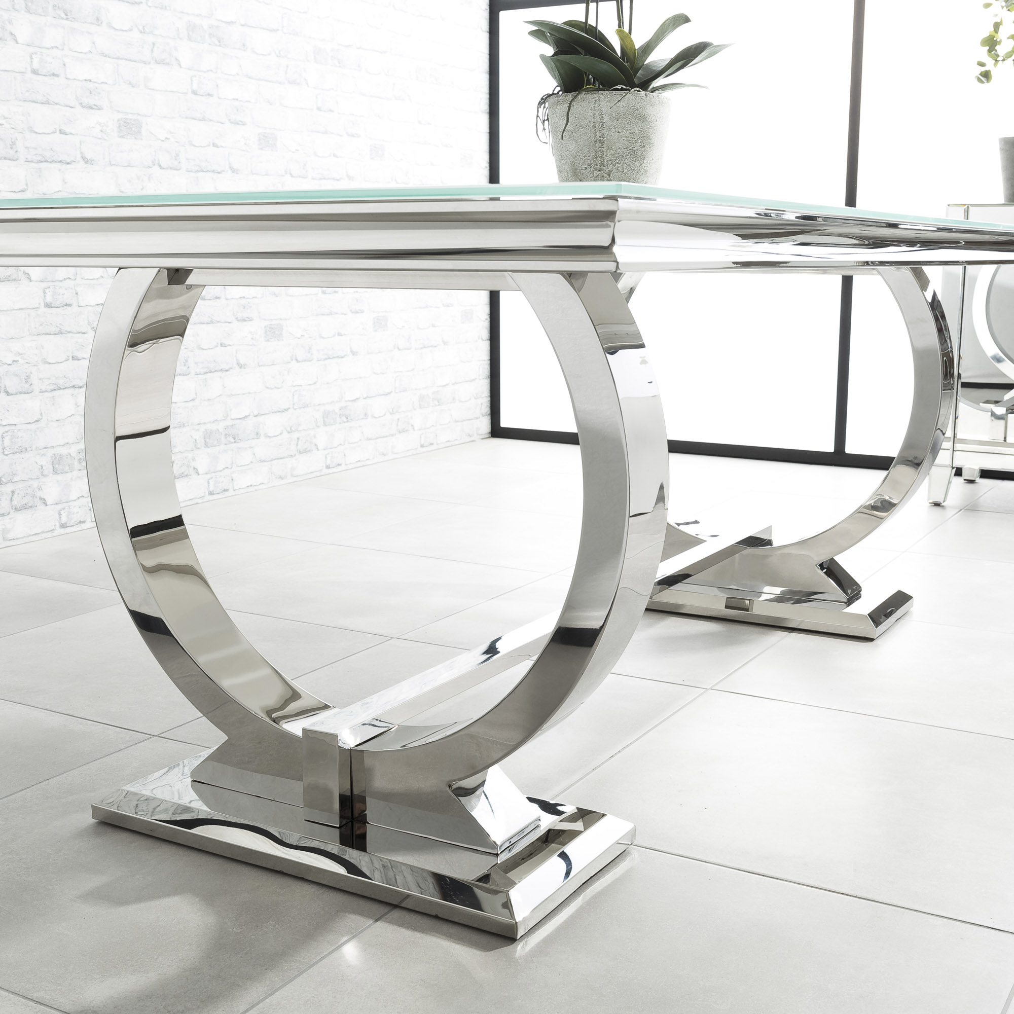 1.8m Polished Steel Dining Table