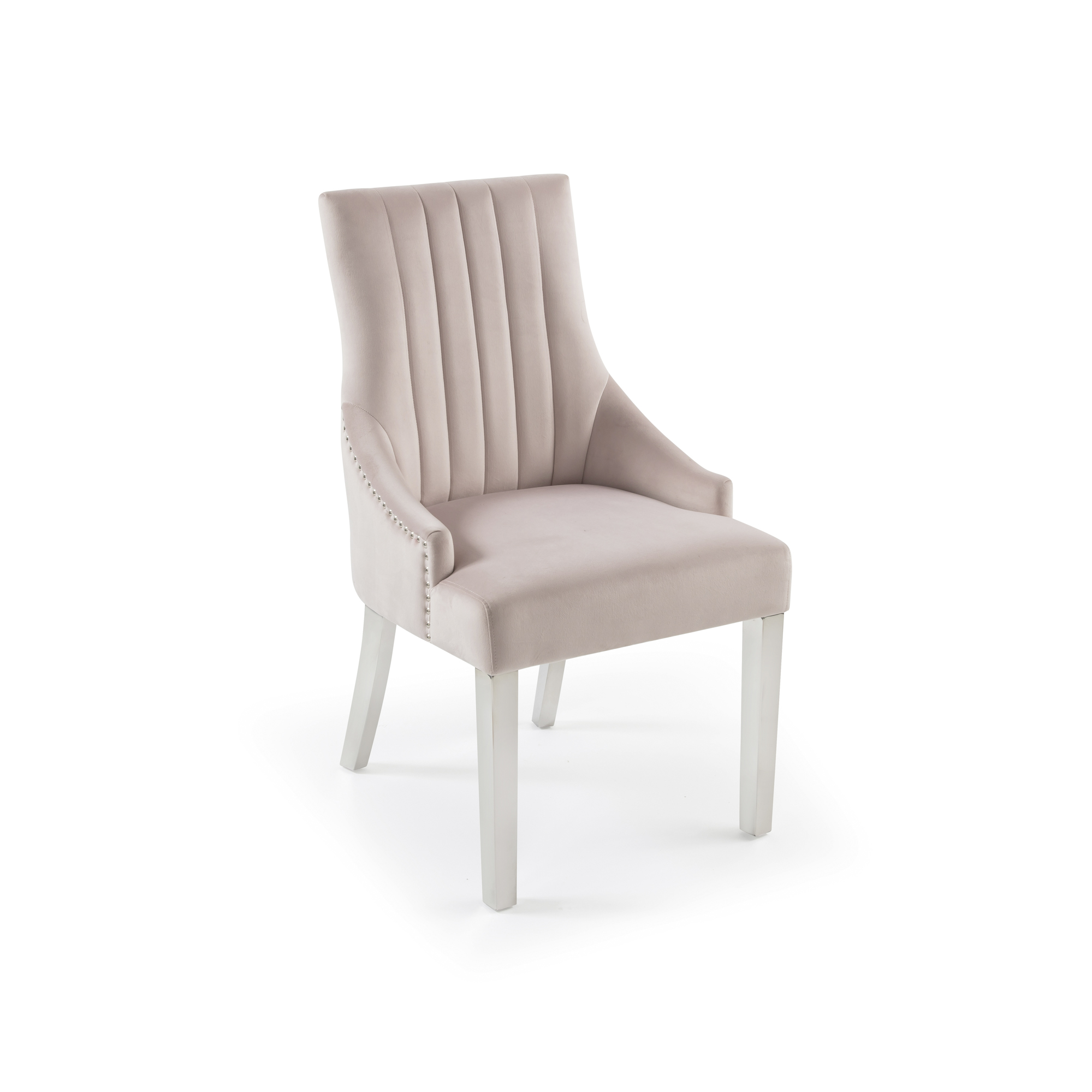 Chelsea Brushed Velvet Upholstered Scoop Dining Chair – Pink – Line Back