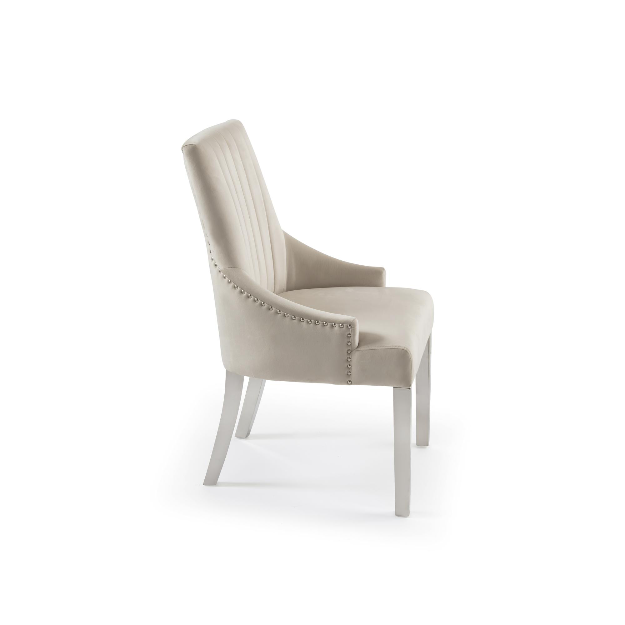 Chelsea Cream Brushed Velvet Upholstered Scoop Dining Chair – Steel Legs
