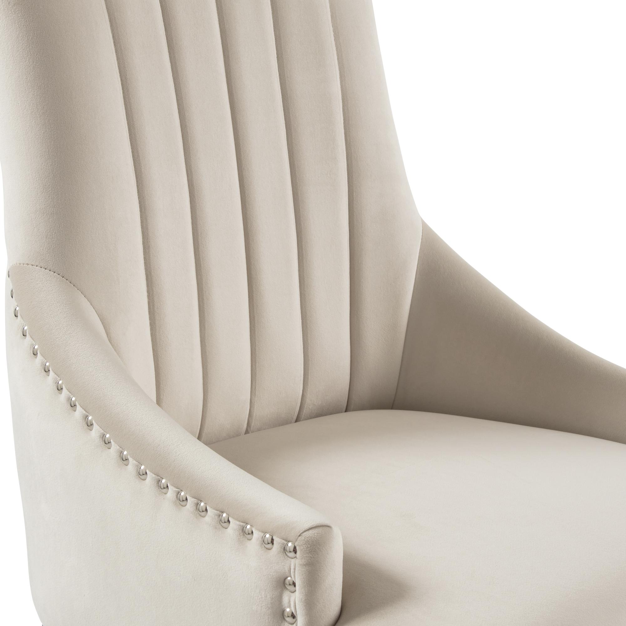 Chelsea Cream Brushed Velvet Upholstered Scoop Dining Chair – White Washed Legs