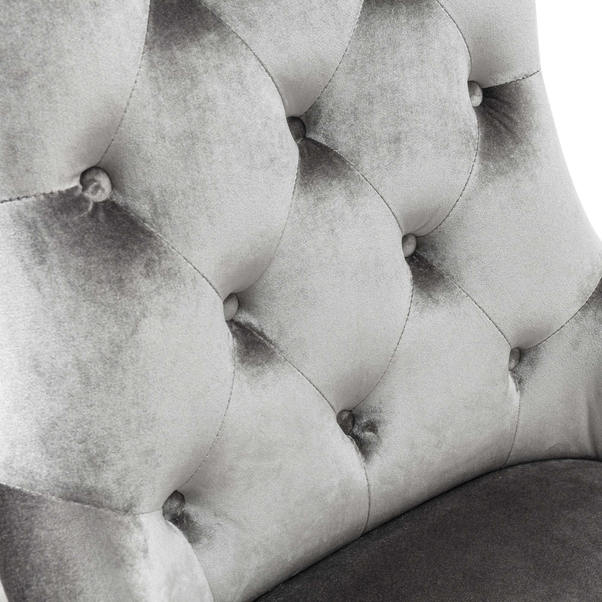 Chelsea Silver Velvet Scoop Dining Chair With Hoop & Stainless Steel Legs