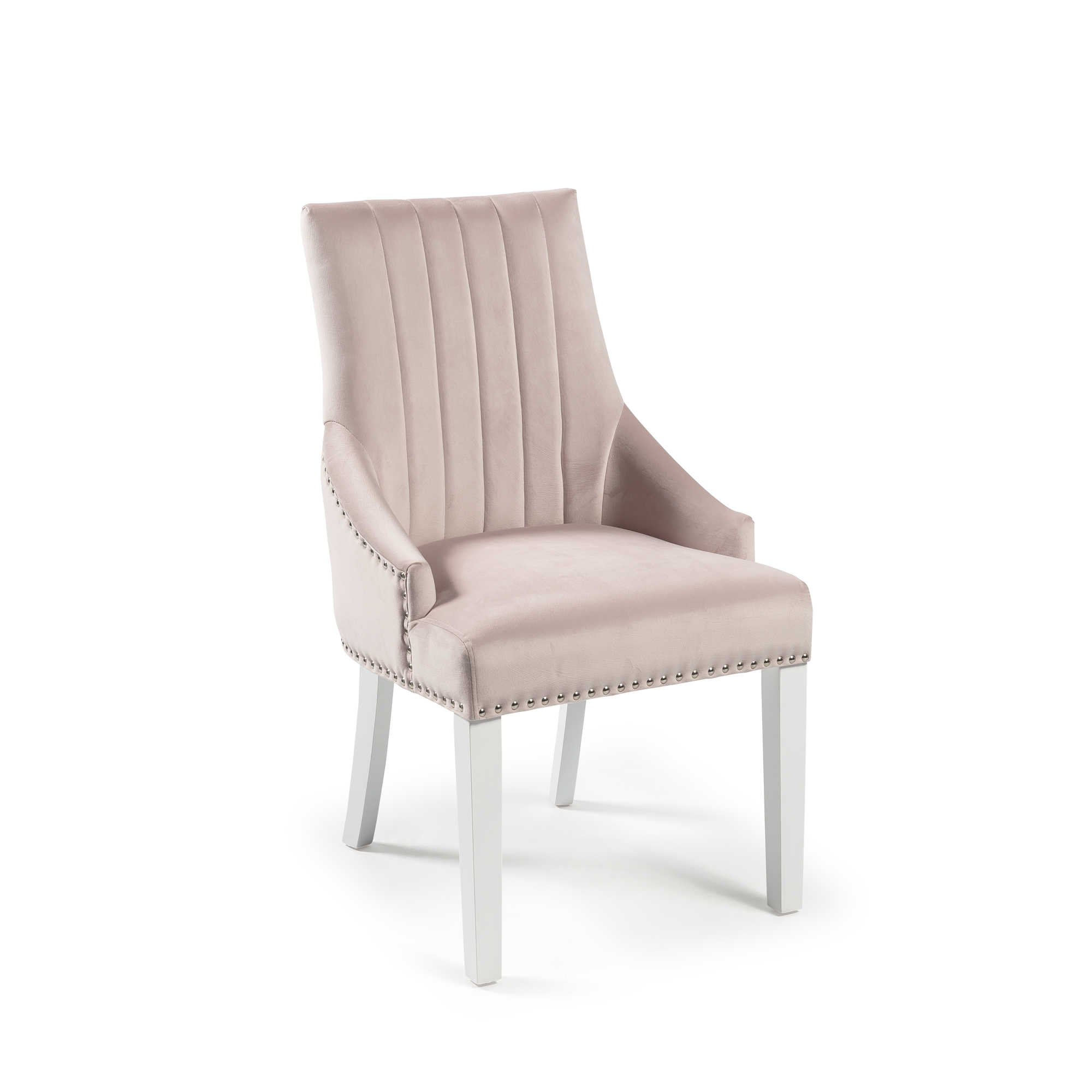 Chelsea Pink Blush Velvet Upholstered Scoop Dining Chair – White Legs – Full Stud (Set of 2)