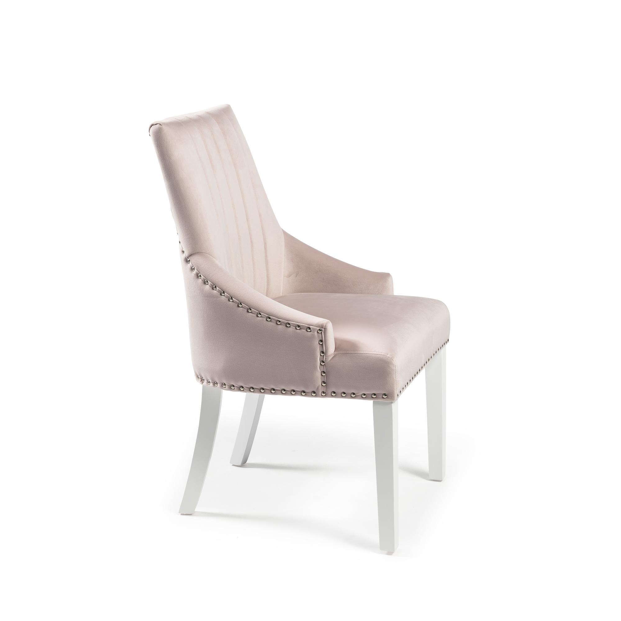Chelsea Pink Blush Velvet Upholstered Scoop Dining Chair – White Legs – Full Stud