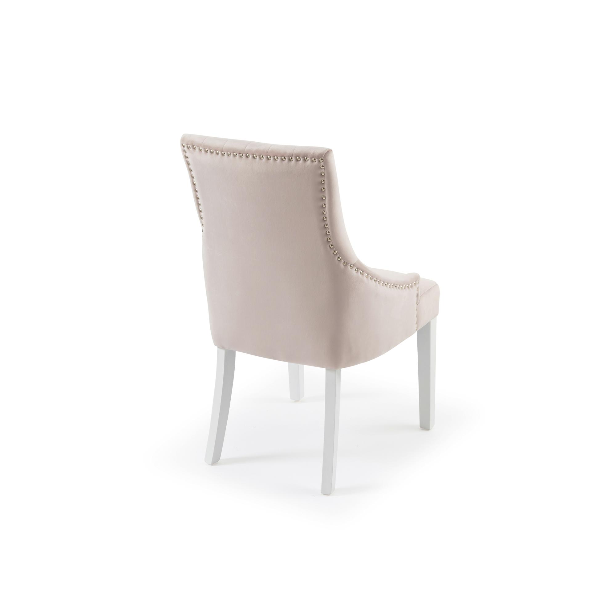 Chelsea Pink Blush Velvet Upholstered Scoop Dining/Bedroom Chair – White Legs