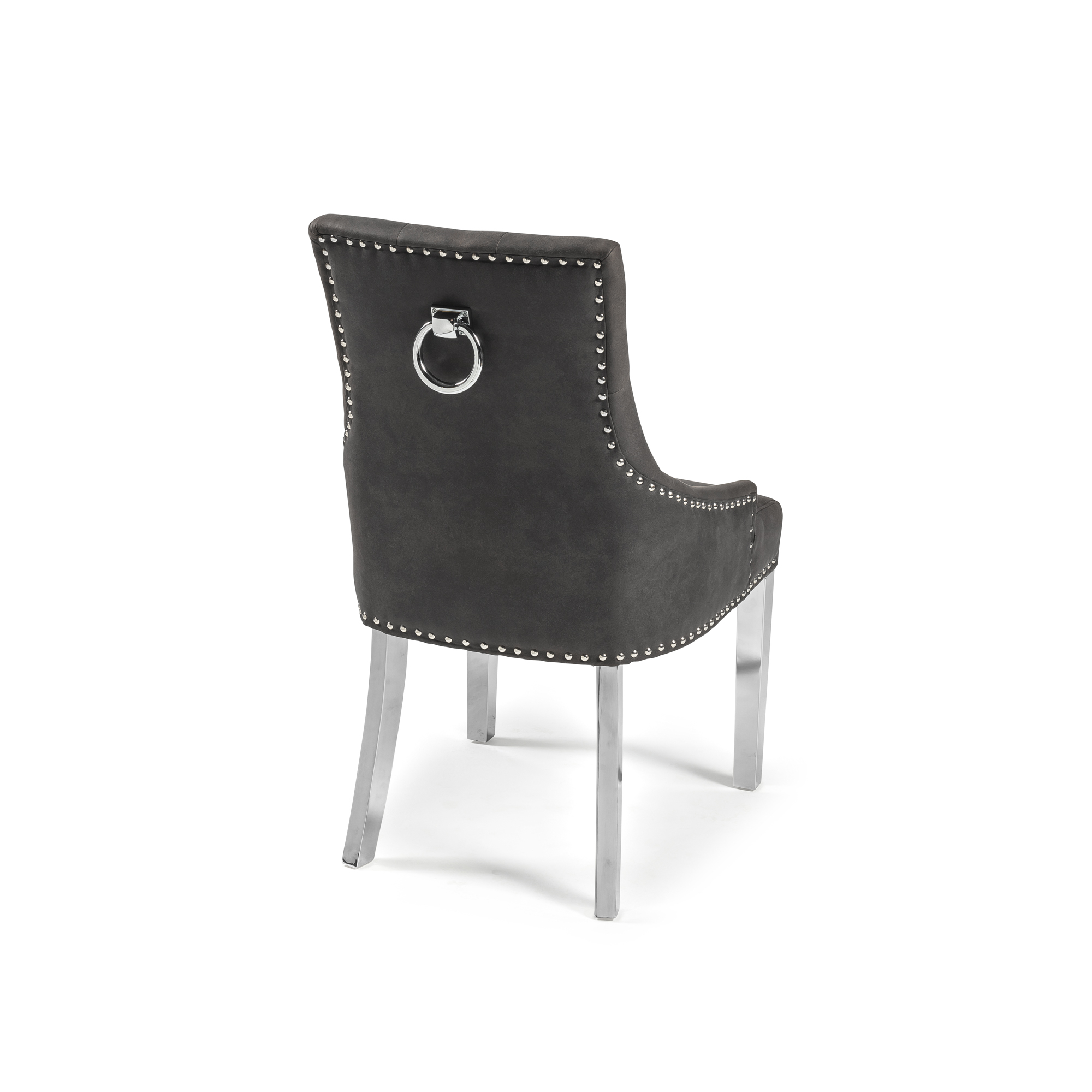 Shadow Grey Buck Upholstered Scoop Dining Chair with a Hoop