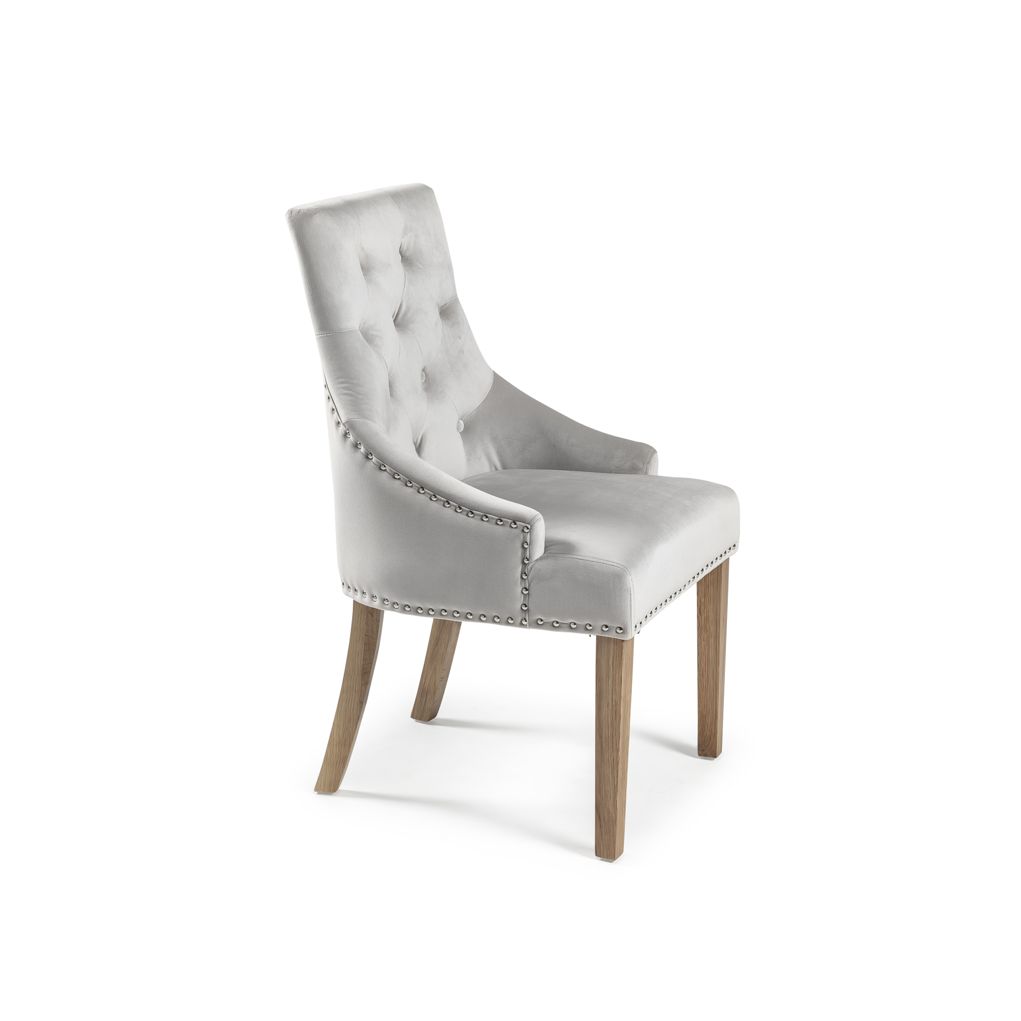 Luxury Chelsea Dove Grey Velvet Dining Room Chair – Scoop Back
