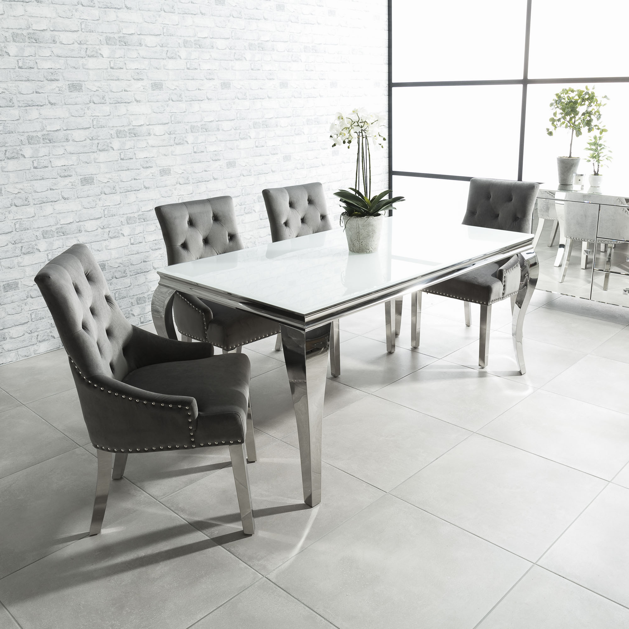 2cfebbec32 2m Louis Polished Steel Dining White Glass Table Set with 6 Grey Brushed  Velvet Dining Chair