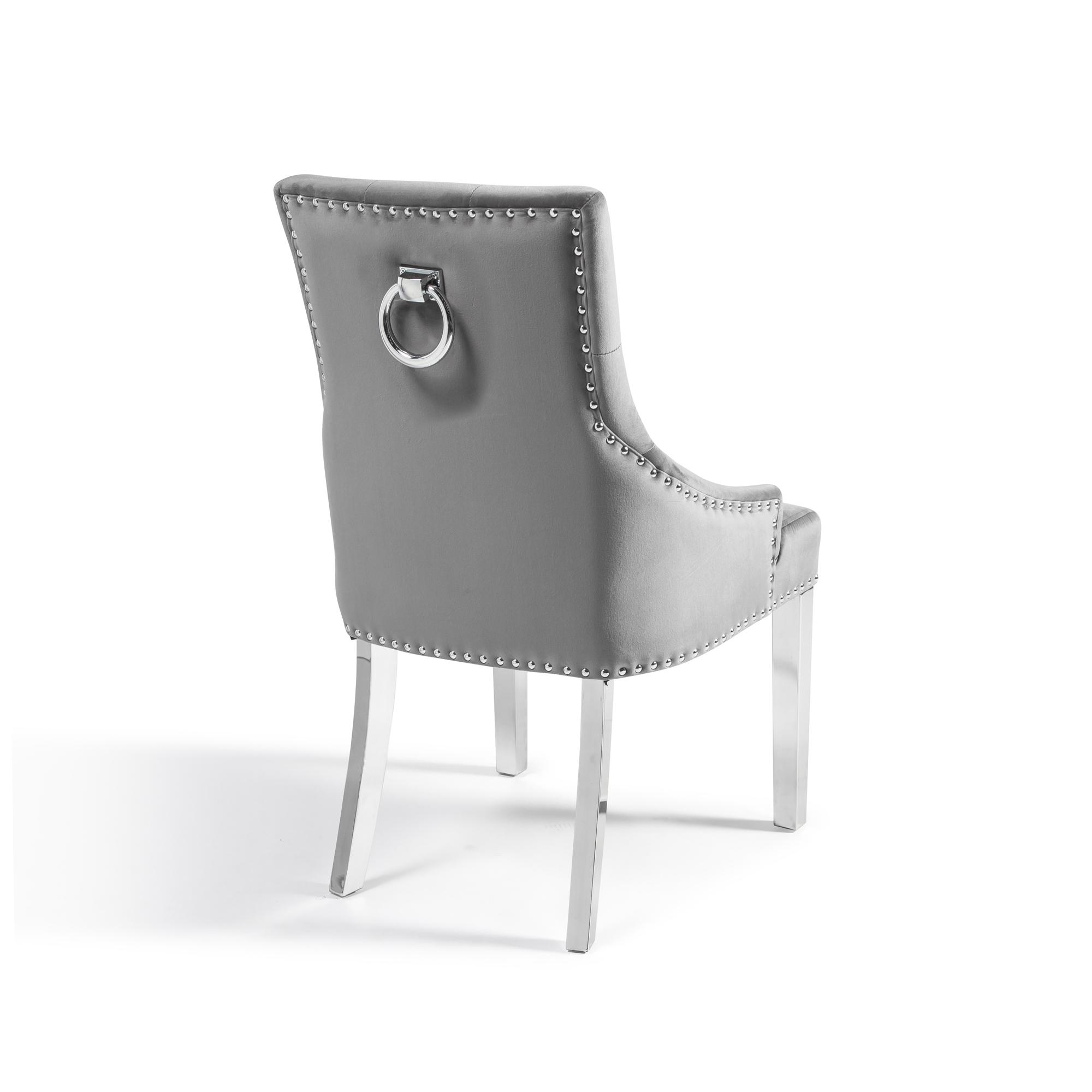 Chelsea Scoop Grey Velvet Dining Chair