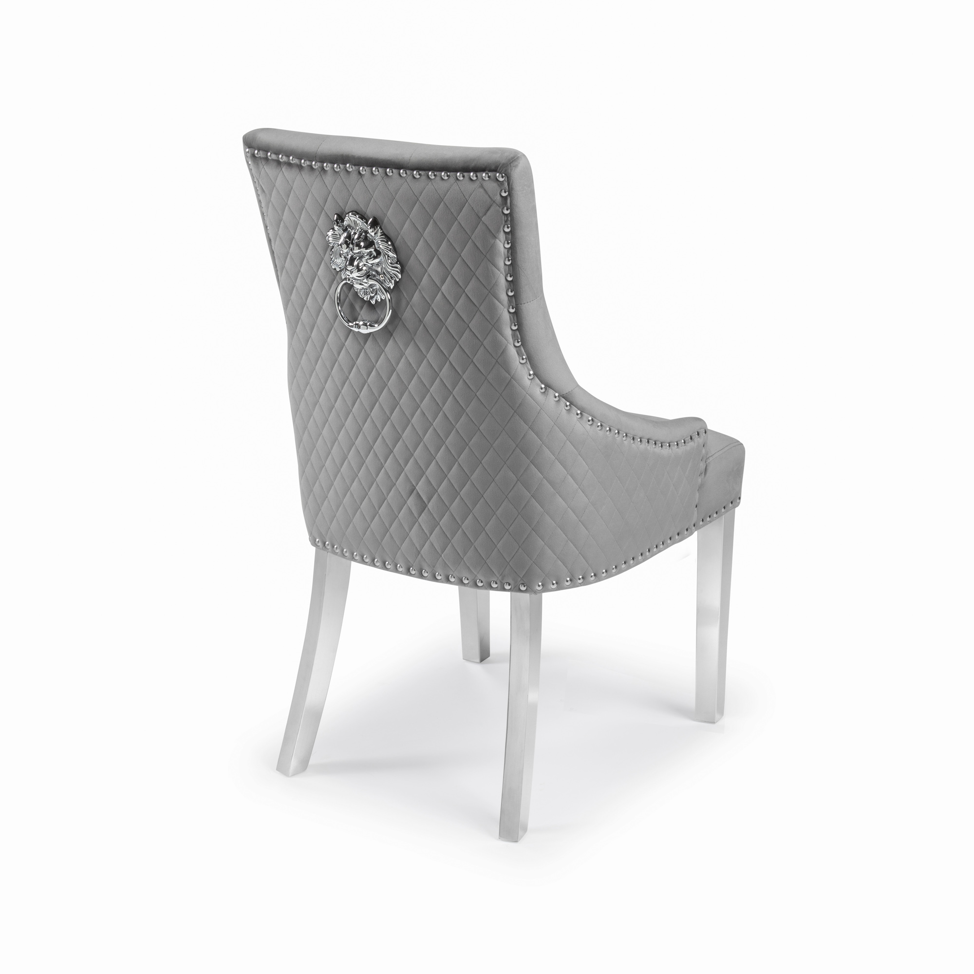 Chelsea Brushed Velvet Upholstered Scoop Dining Chair – Grey – Lions Head – Diamond Stitch