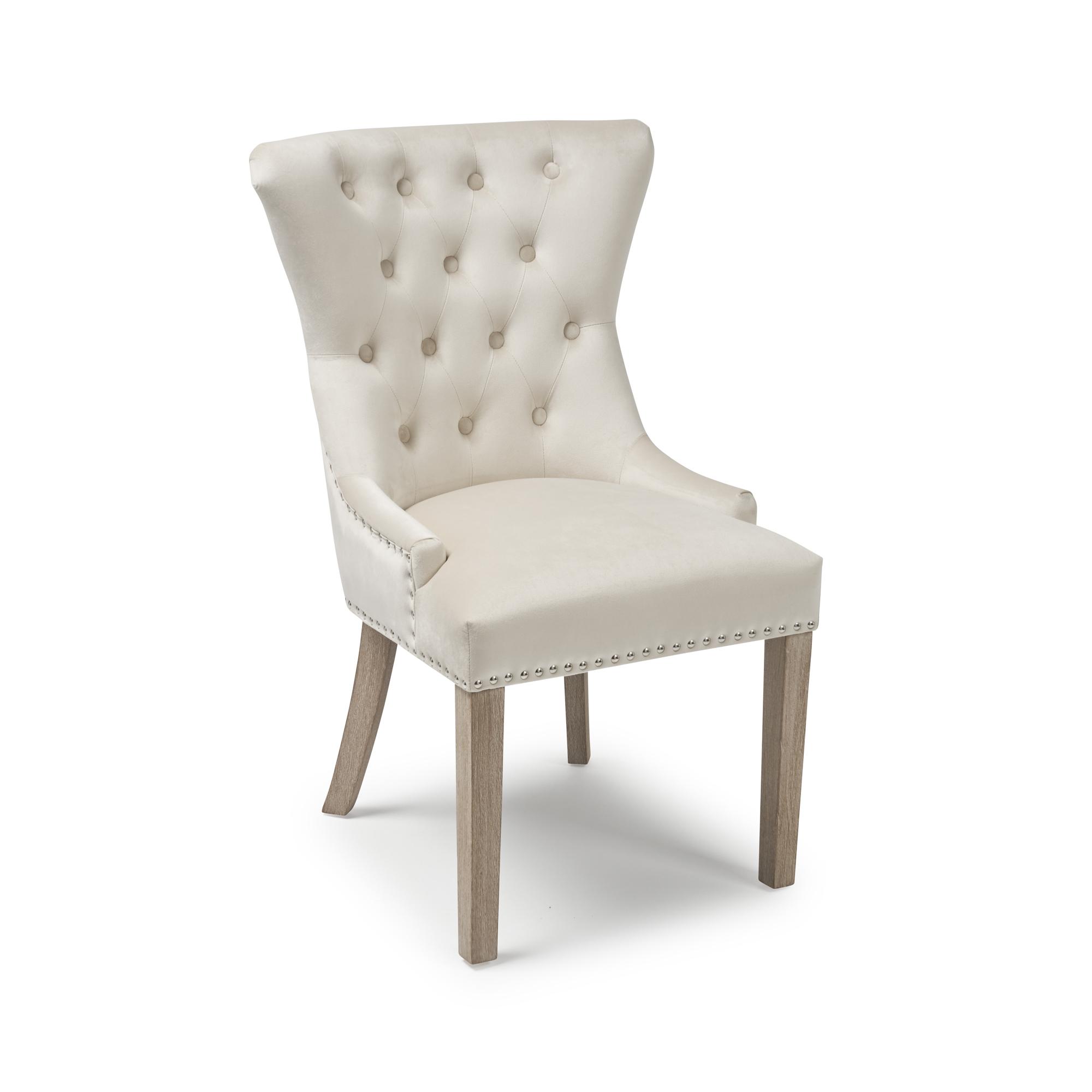 Knightsbridge Brushed Velvet Cream Dining Room Chair