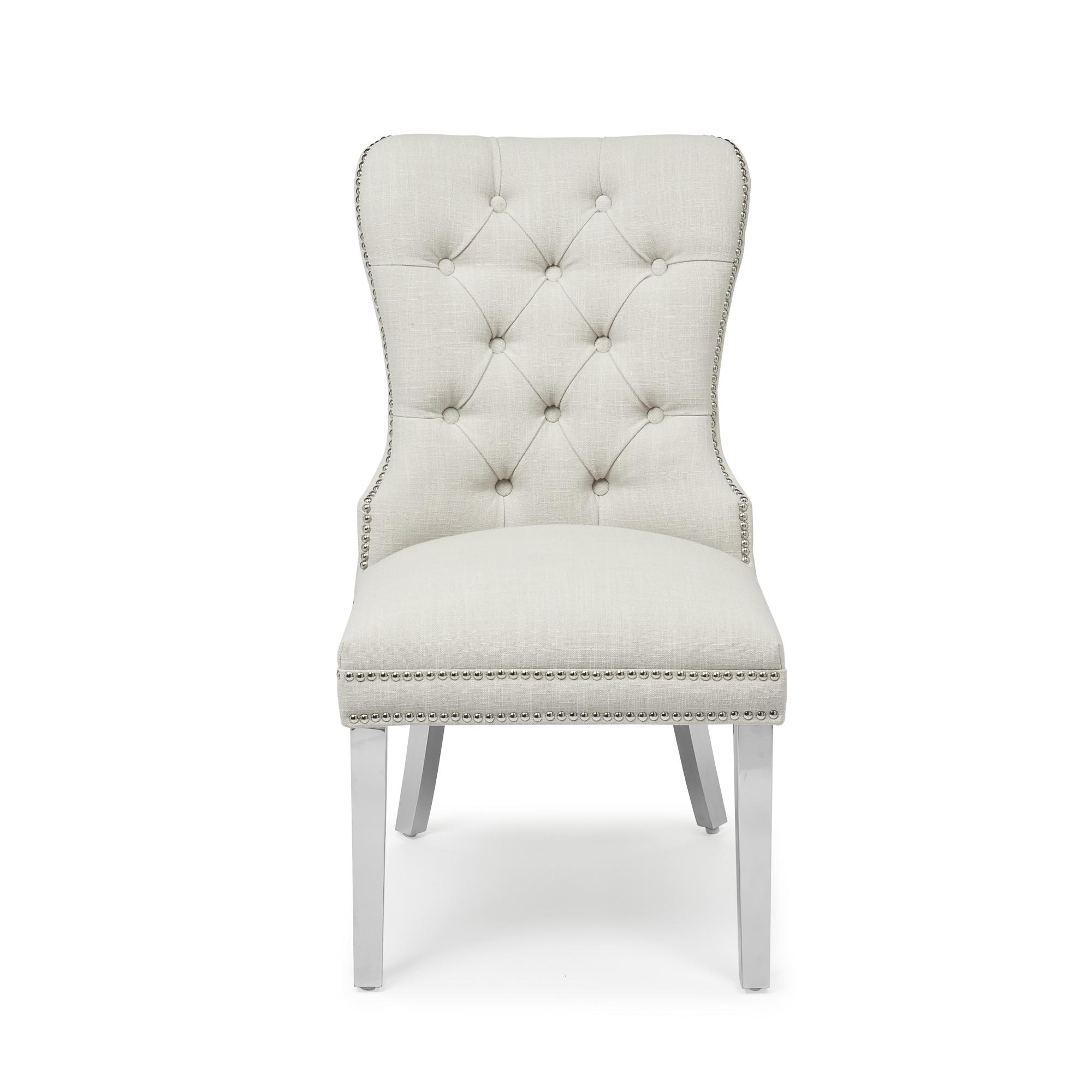 Hale Cream Linen Studded & Hoop Dining Chair