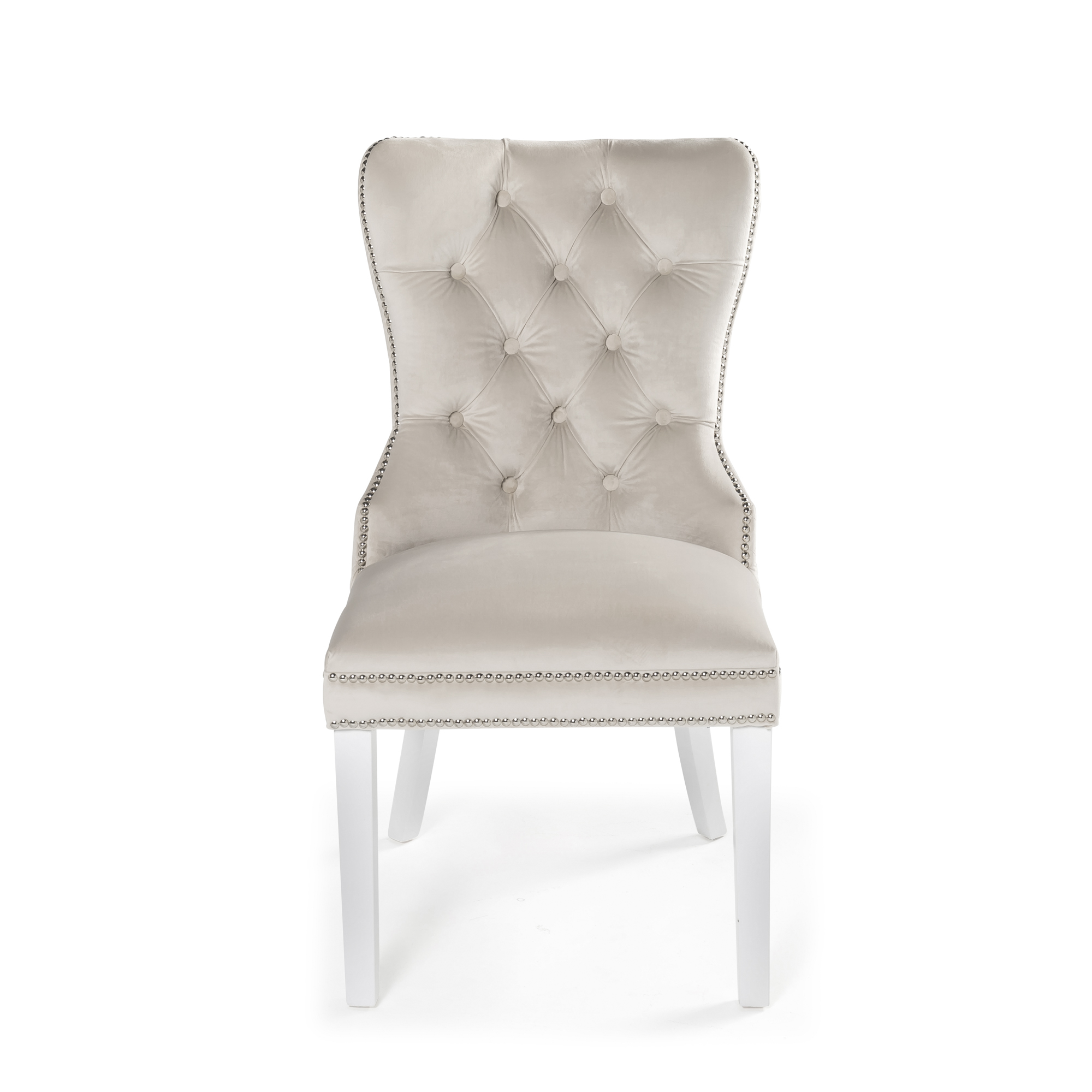 Hale Cream Quilted Brushed Velvet Studded Hoop Dining Chair with White Painted Legs
