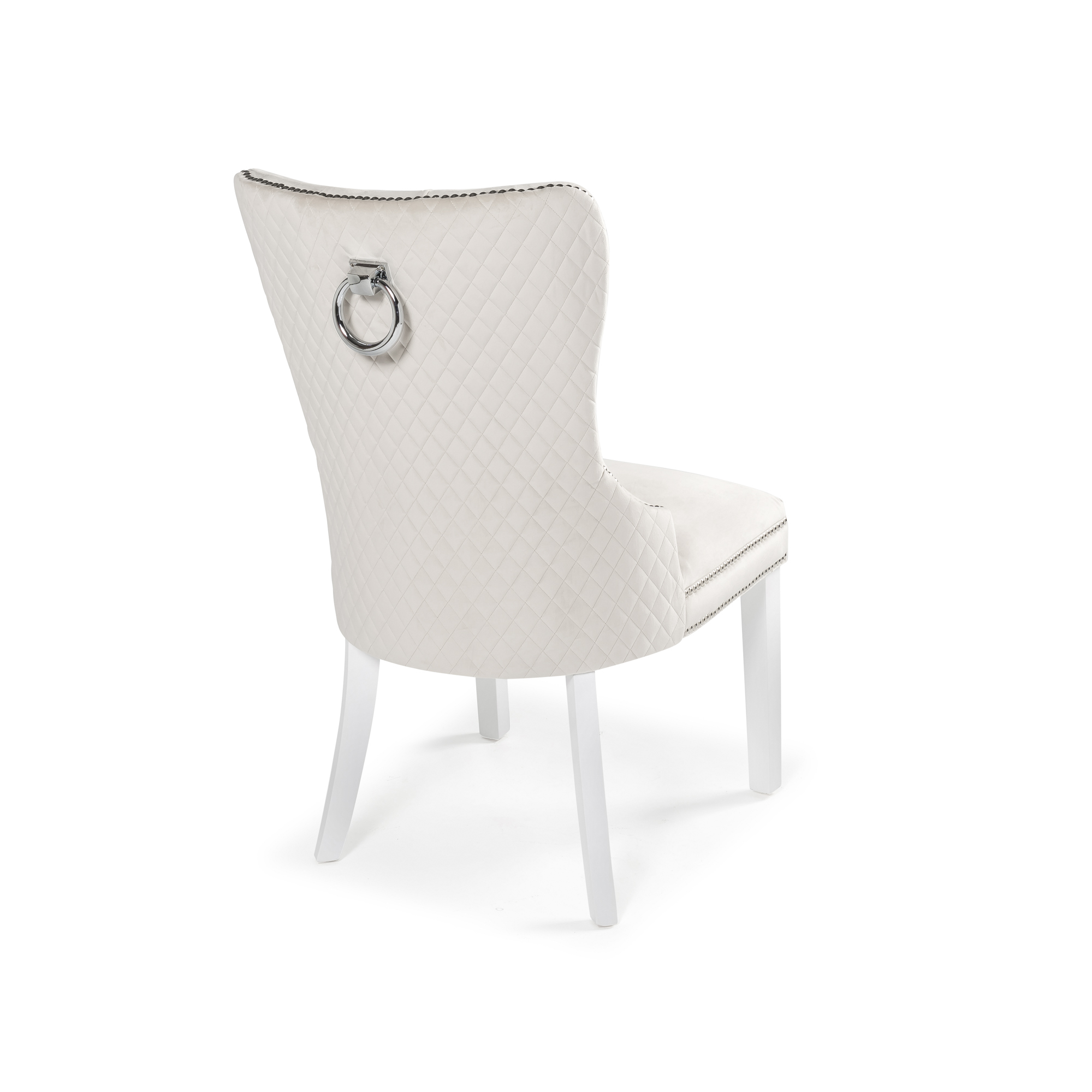 Hale Quilted Back Brushed Velvet Cream Dining Chair