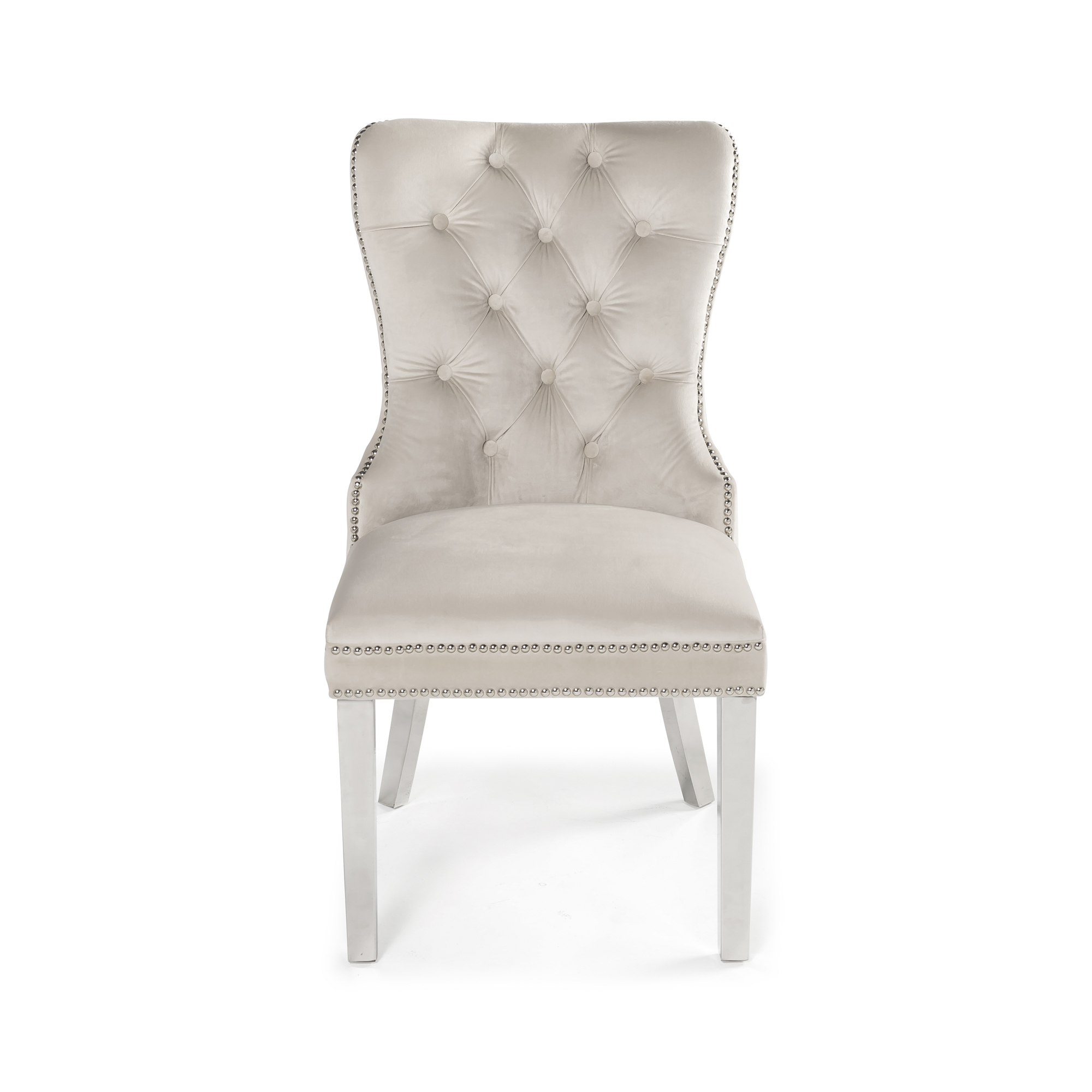 Hale Cream Brushed Velvet Studded & Hoop Dining Chair with Polished Steel Legs