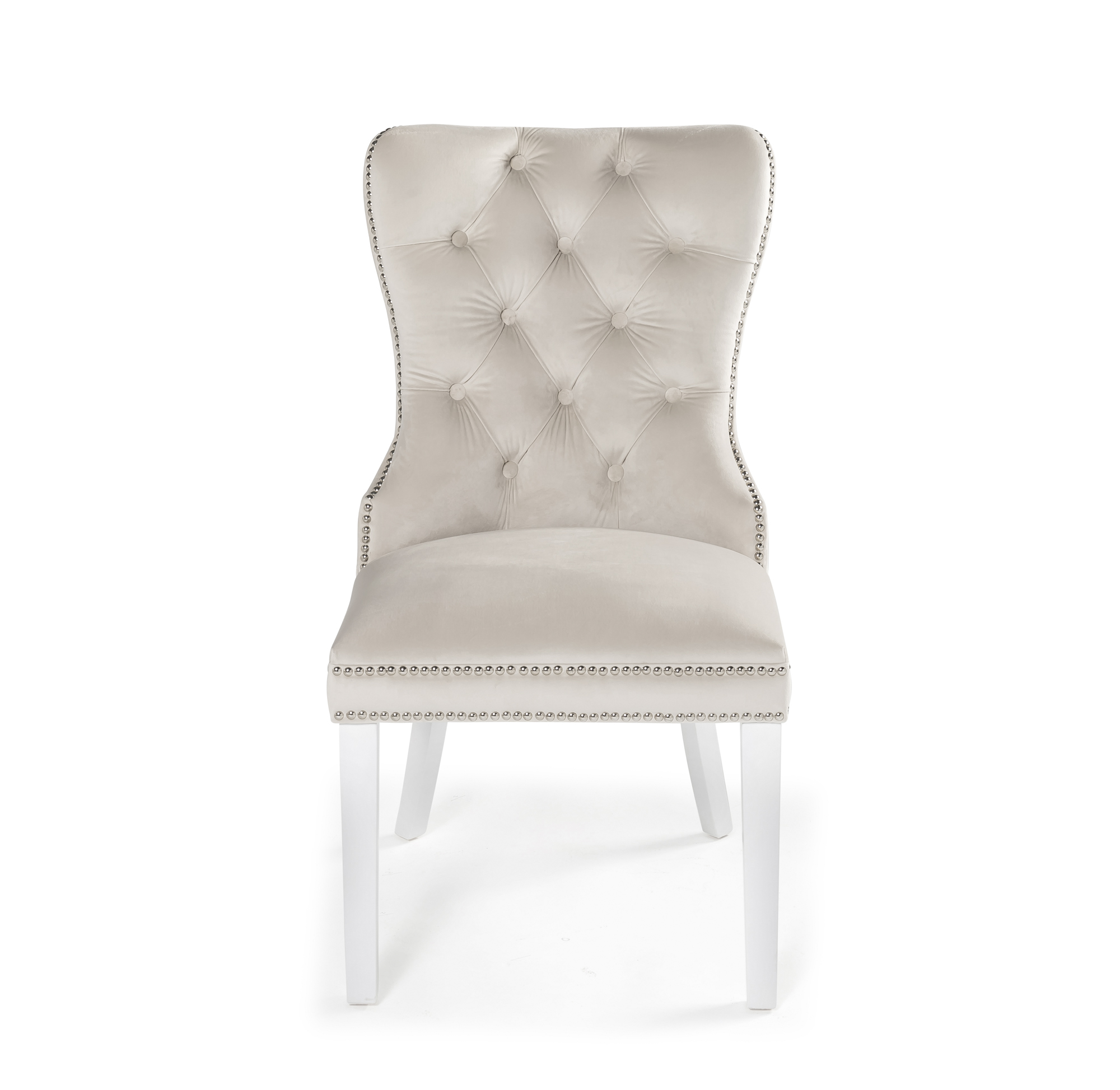 Hale Cream Brushed Velvet Studded & Hoop Dining Chair with White Painted Legs