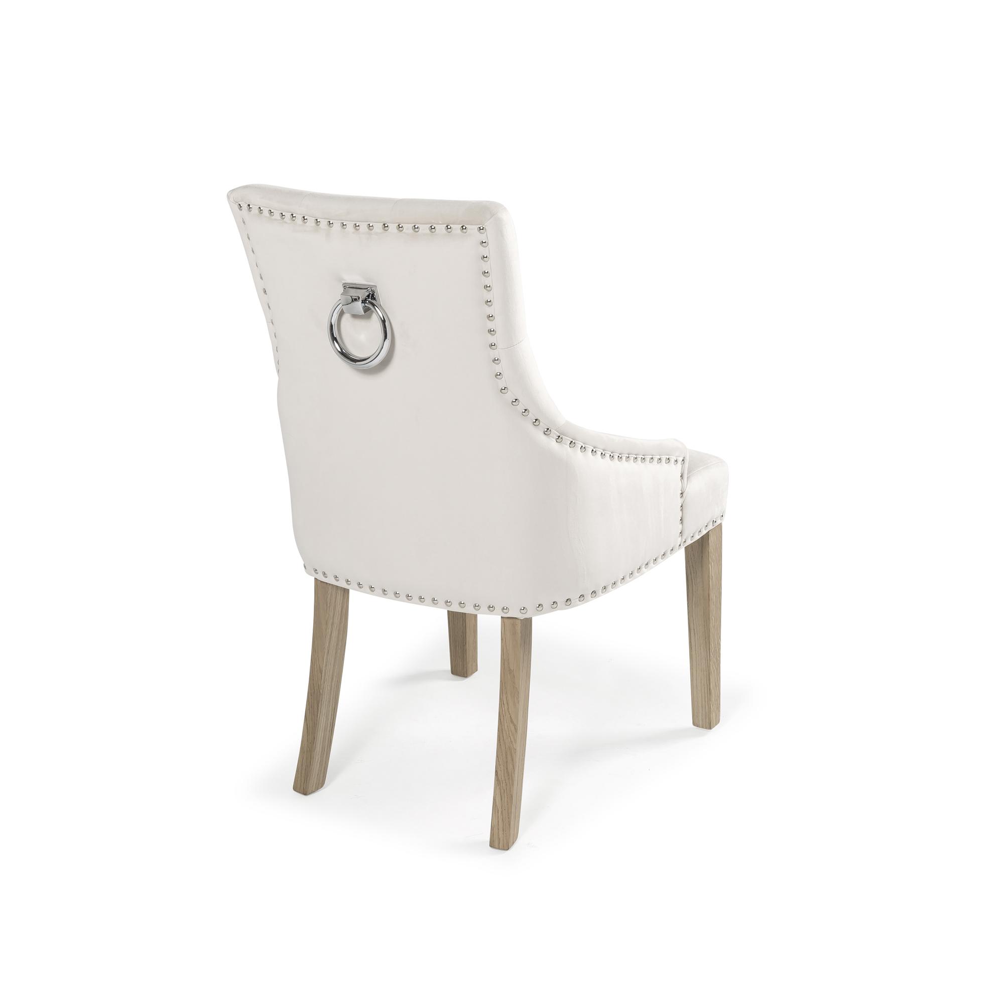 Chelsea Cream Brushed Velvet Upholstered Scoop Back Dining Chair with Stainless Steel Hoop, Studs & Oak Legs