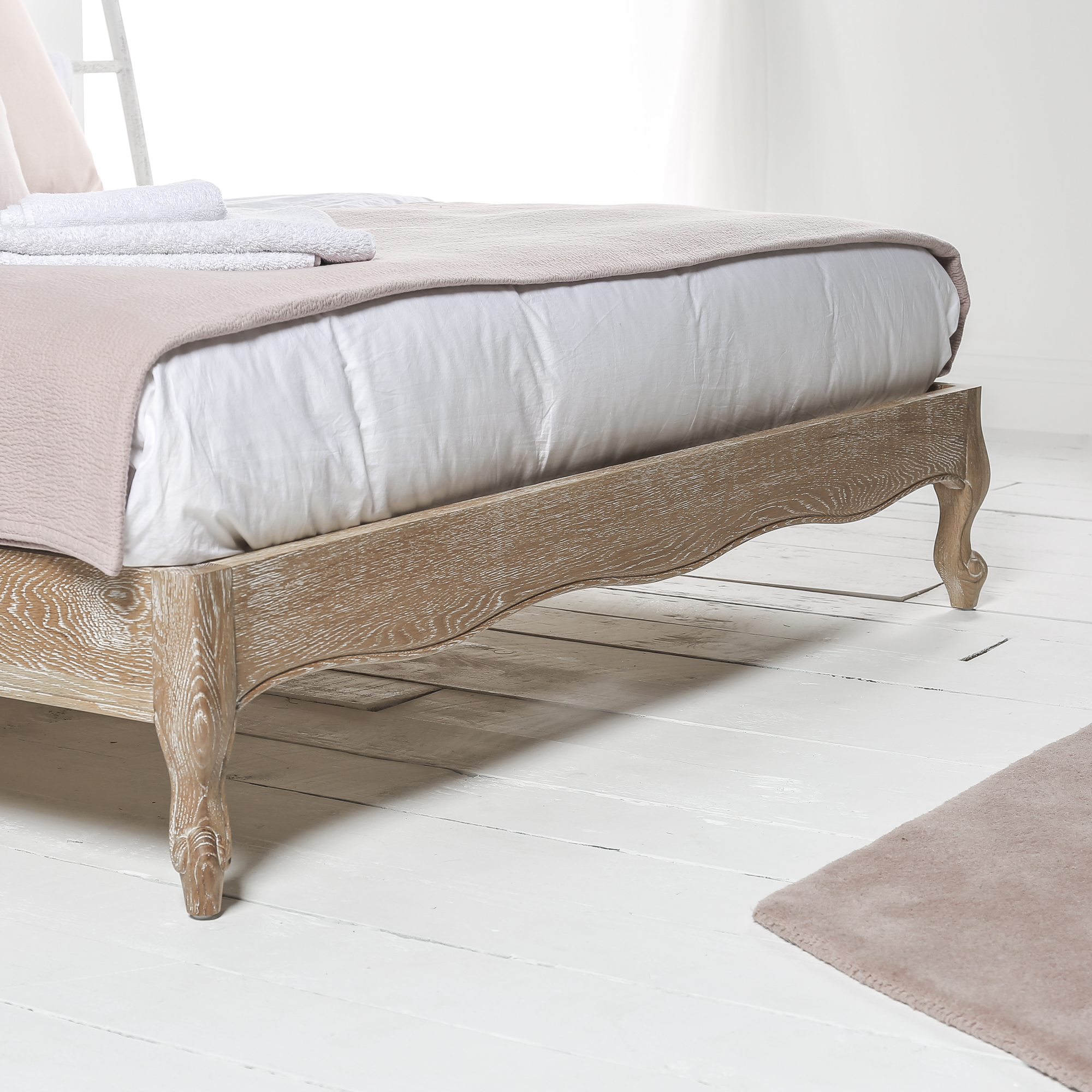 French Weathered Limed Oak Upholstered Curved Low Foot Board Bed – King Size