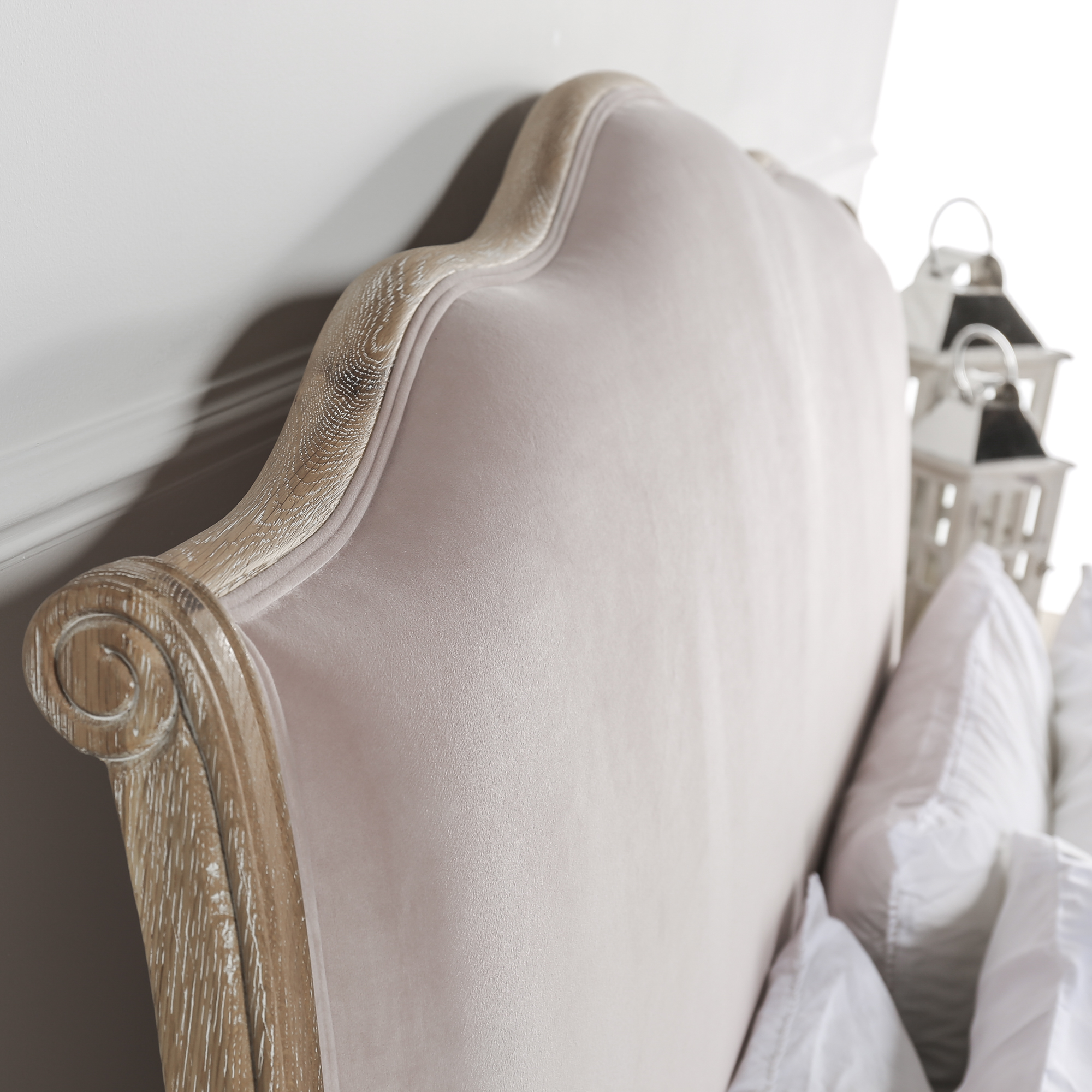 French Weathered Limed Oak Pink Brushed Velvet Upholstered Curved Bed – King Size