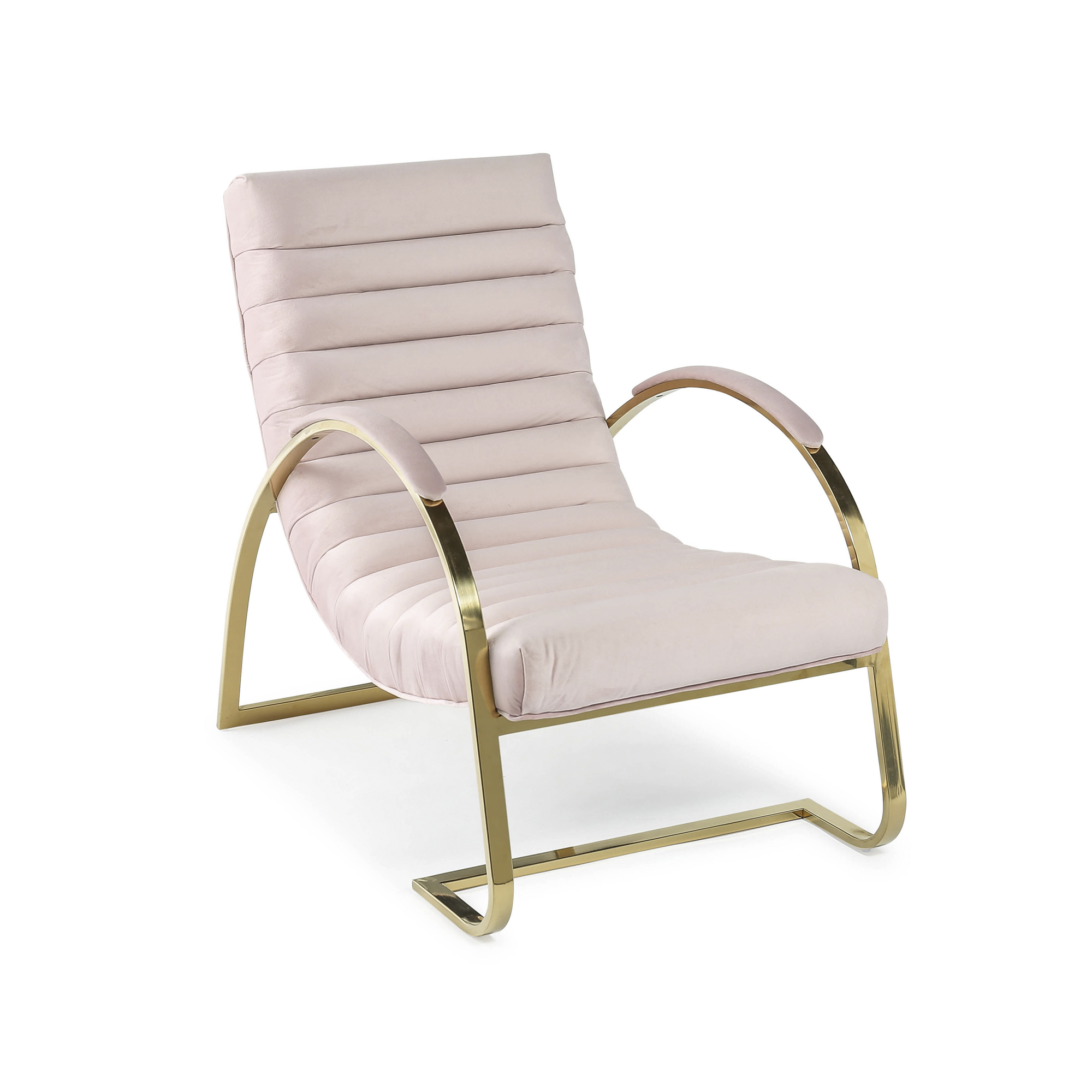 Pink & Gold Brushed Velvet Bedroom Armchair / Lounger