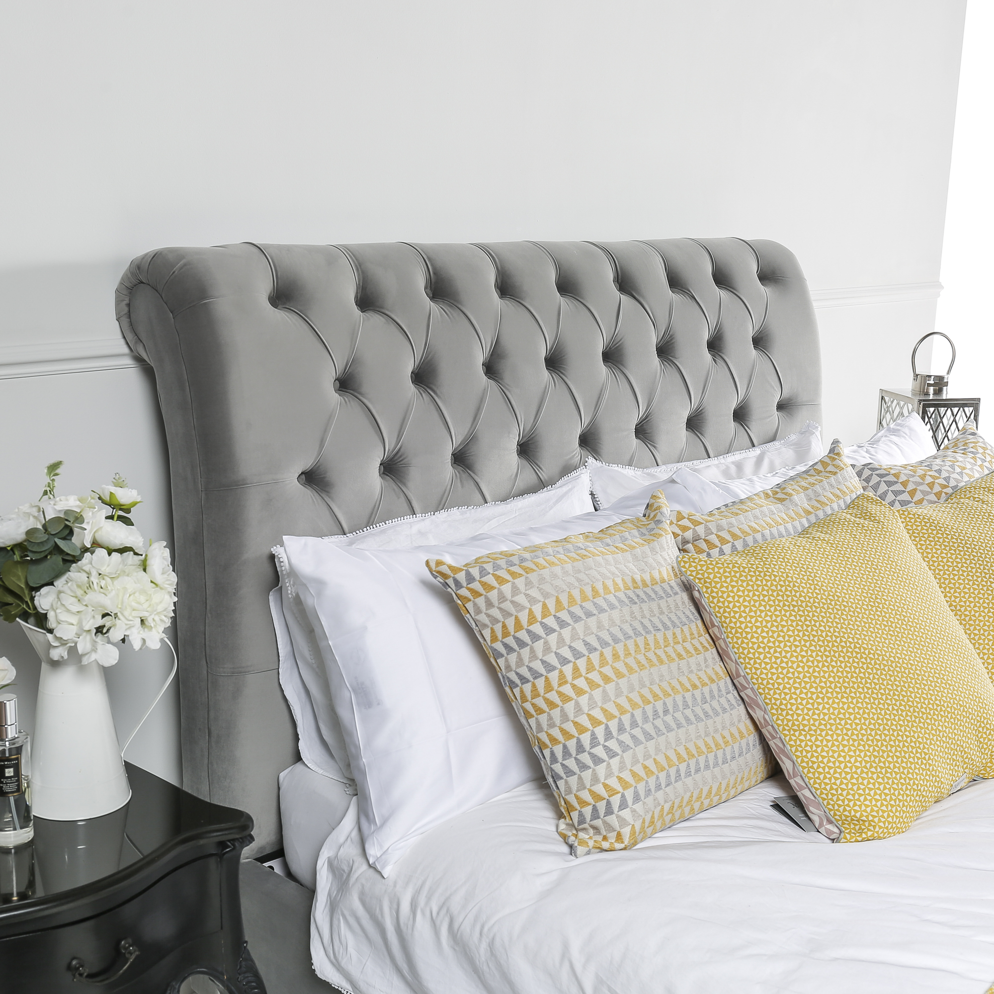 King Size 5ft Grey Brushed Velvet Chesterfield Low Footboard Bed