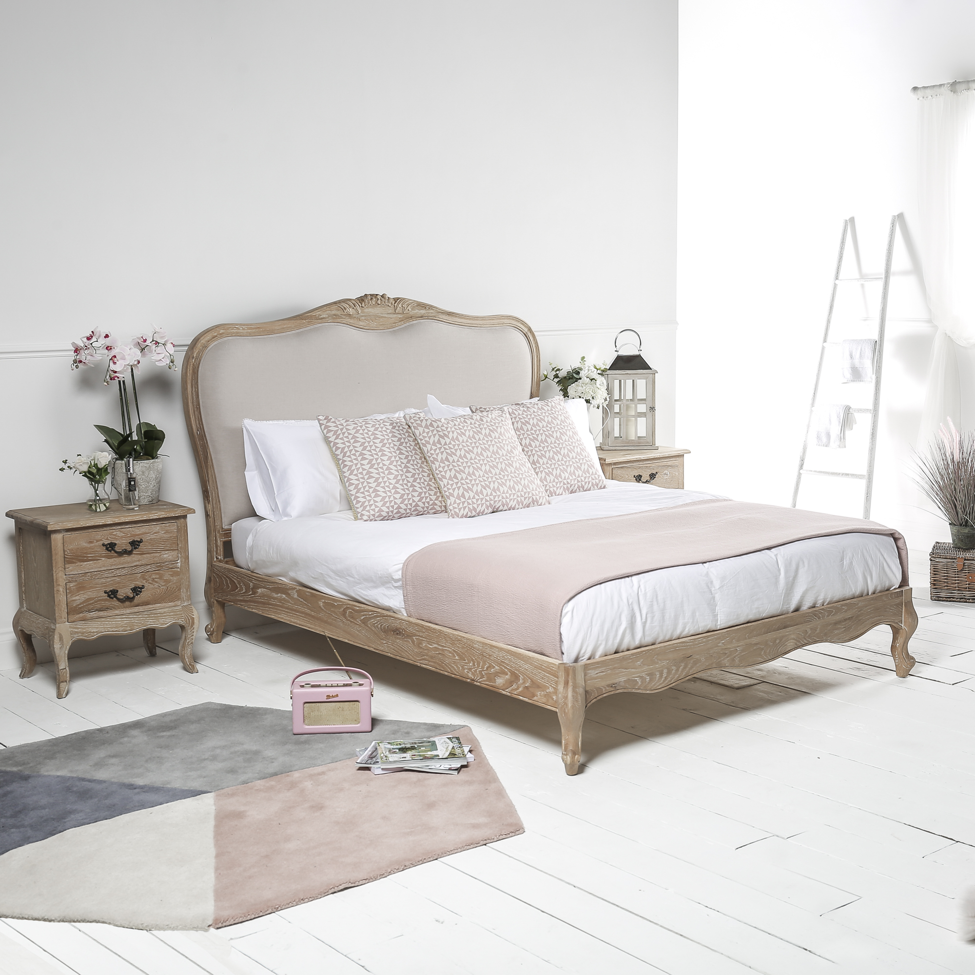 French Weathered Limed Oak Upholstered Low Foot Board Bed – King Size Bed