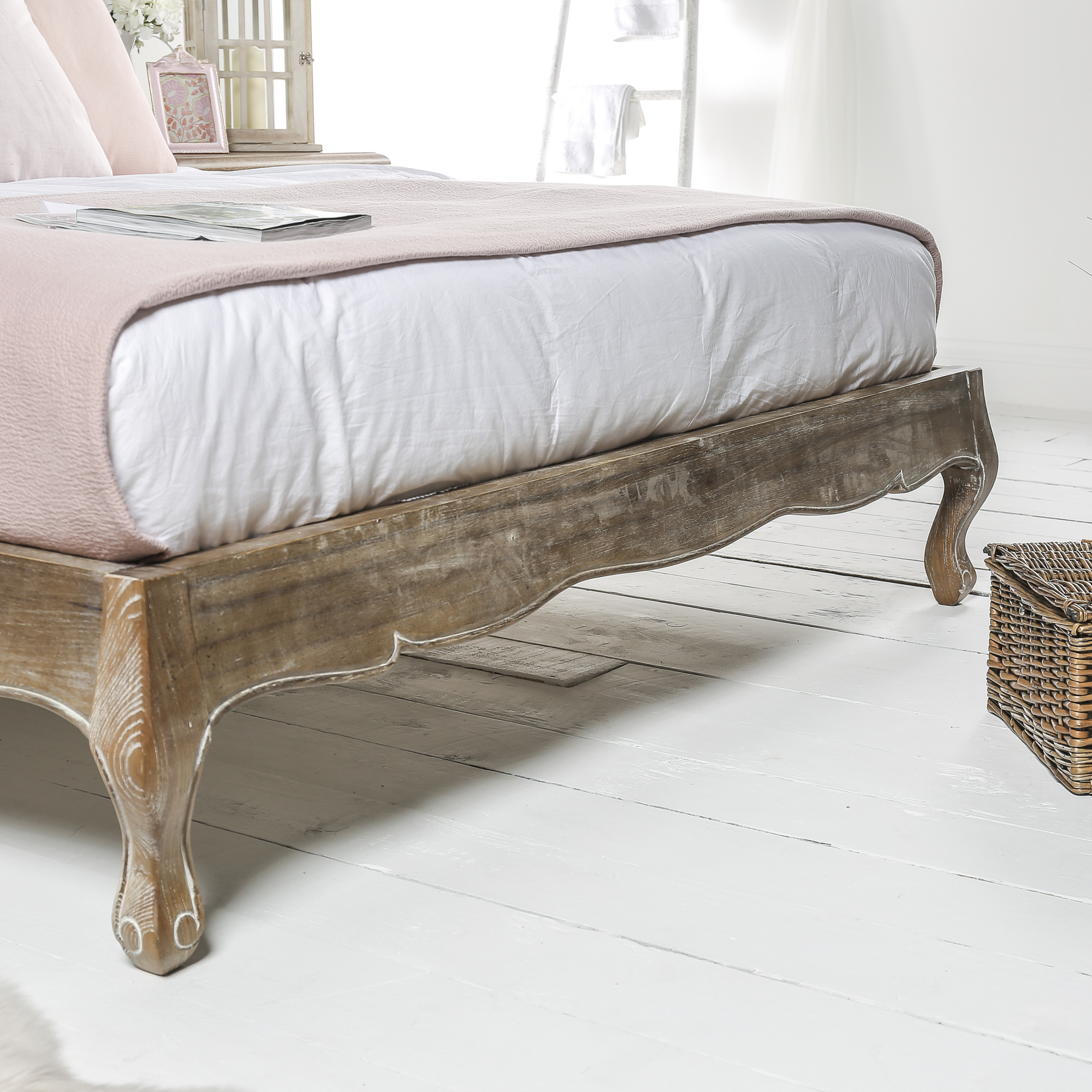 French Weathered Limed Ash Upholstered Low Foot Board Bed – Double Size