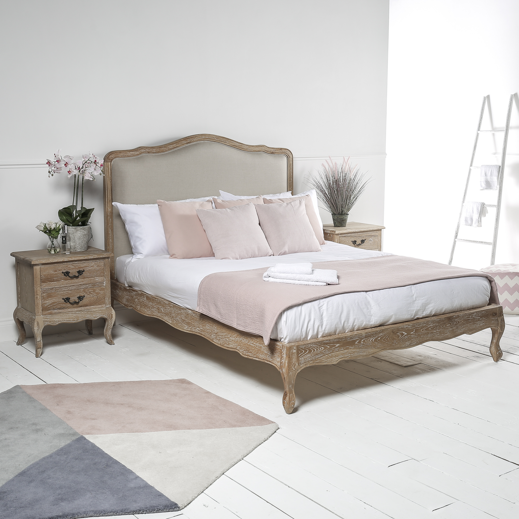 French Weathered Limed Oak Upholstered Low Foot Board Bed – Super King Size