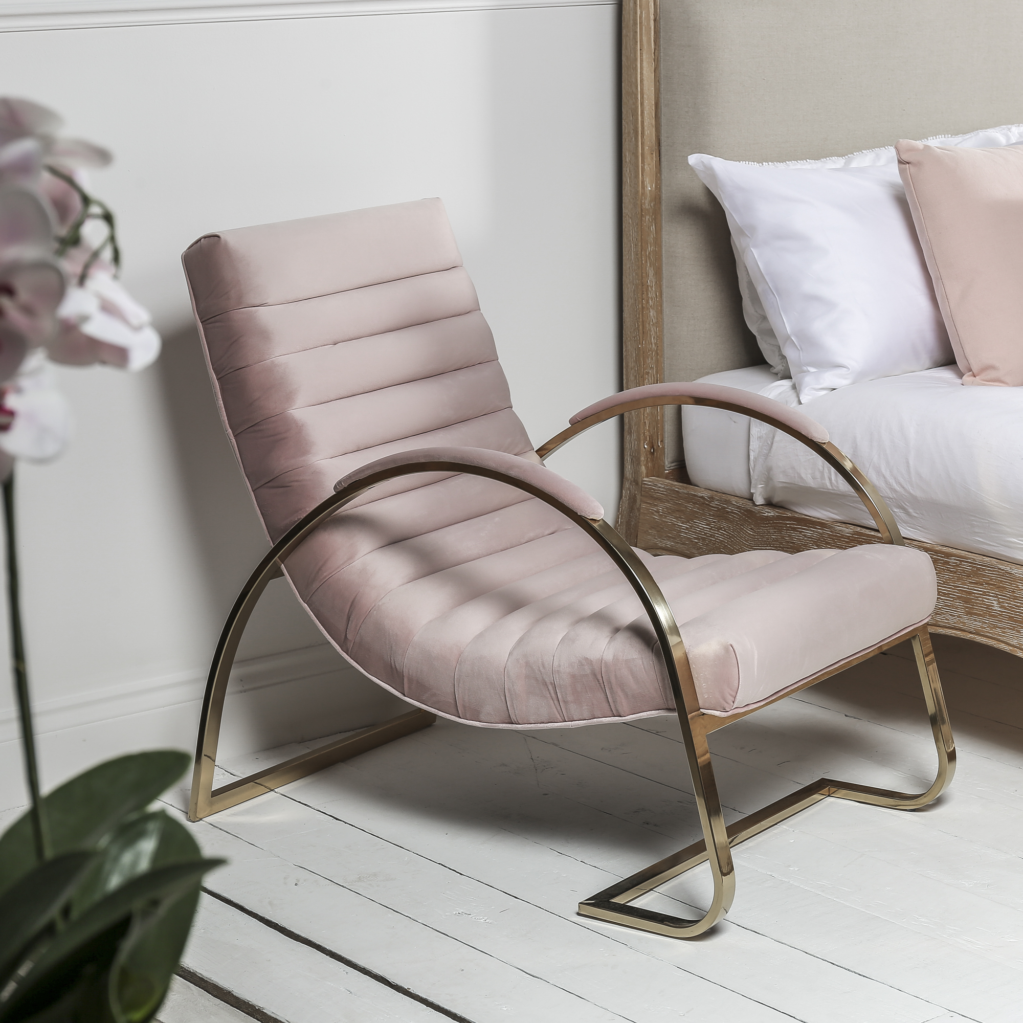 Pink Brushed Velvet Lounger Slouch Armchair – Bedroom Chair