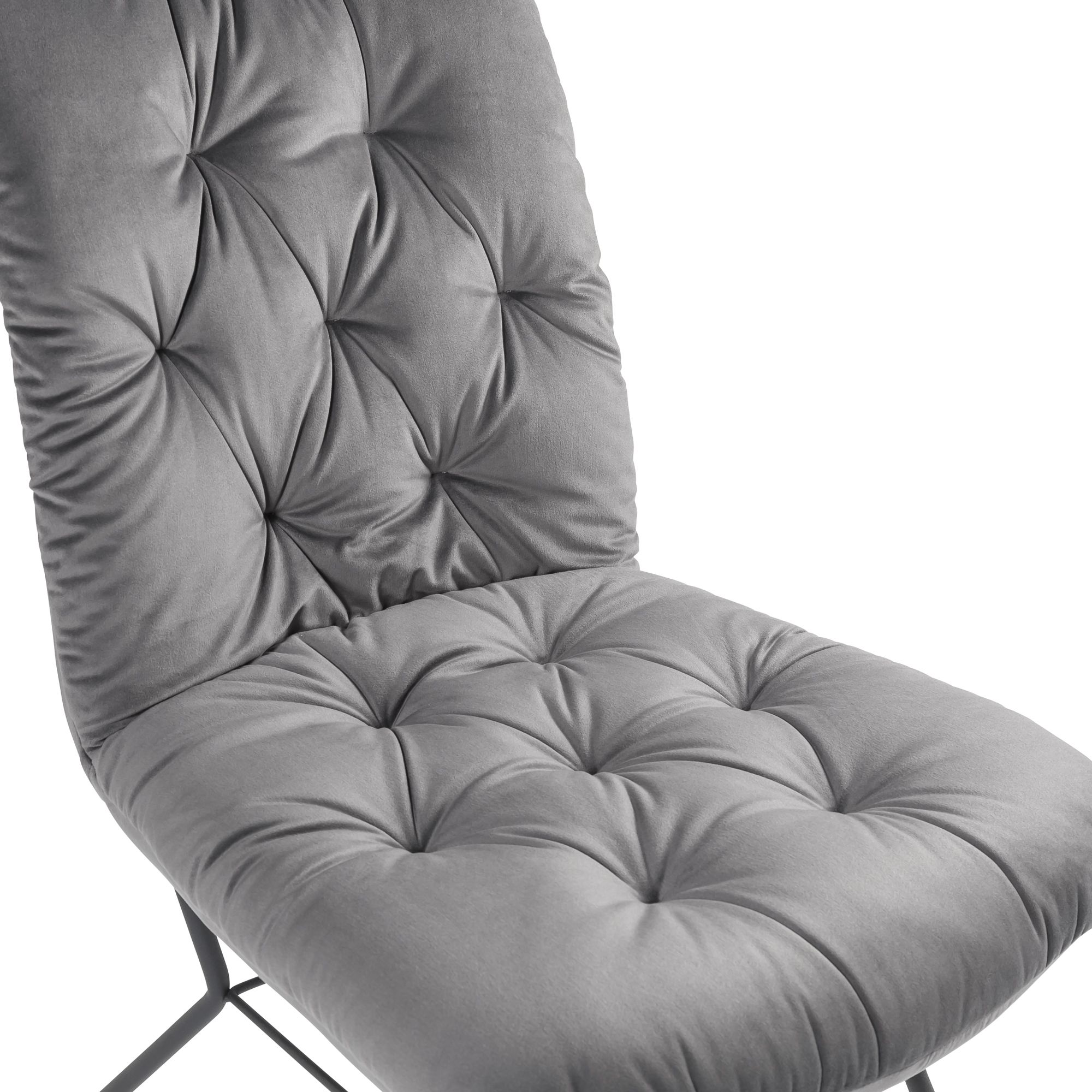 Sofia Grey Velvet Buttoned Upholstered Modern Dining Chair