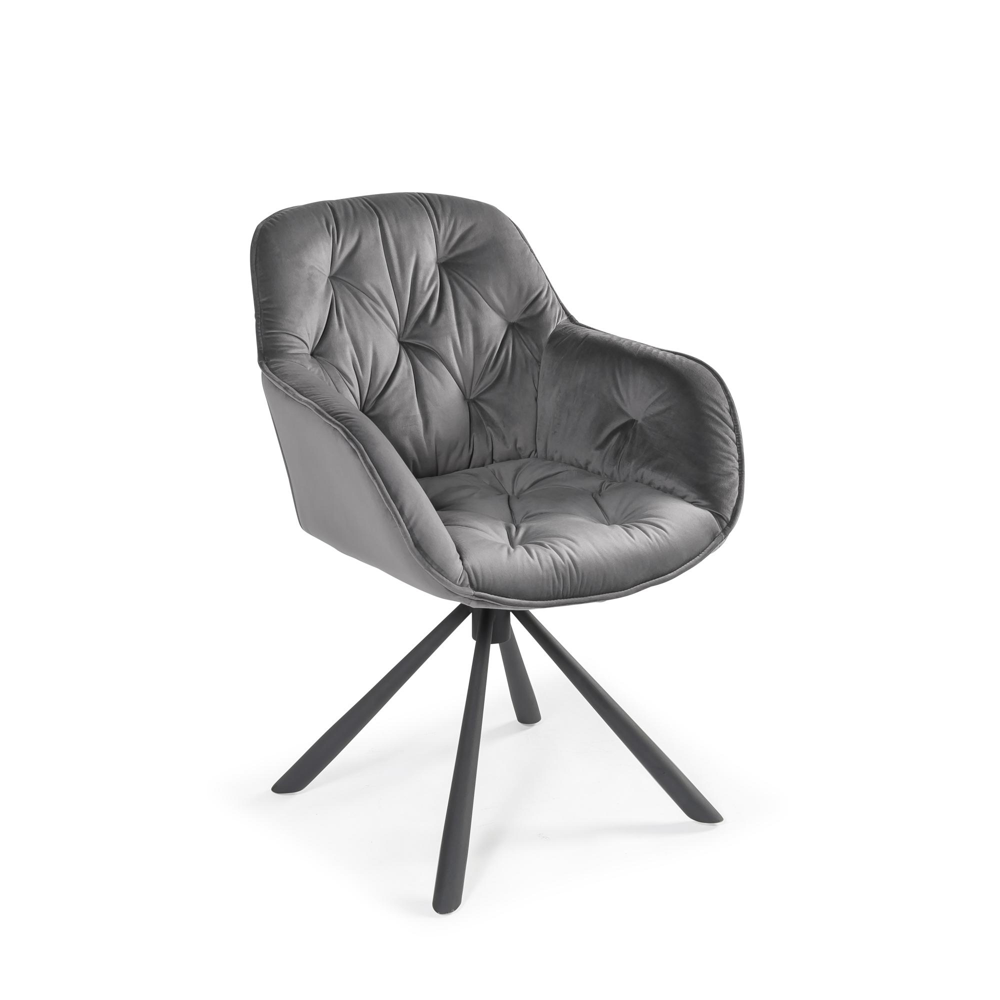 Moda Grey Velvet Swivel Dining Arm Chair (Set of 2)