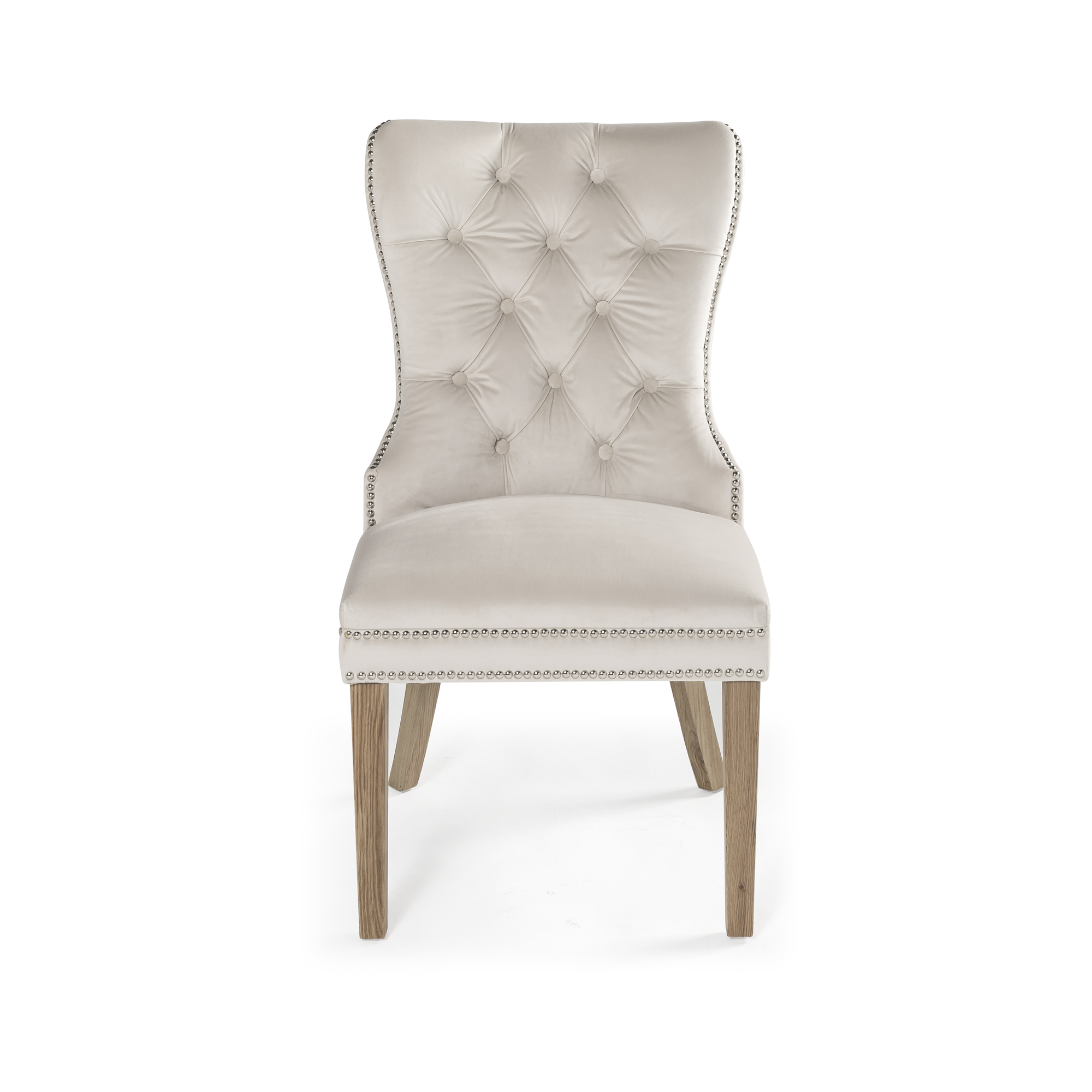 Hale Studded Cream Velvet Dining Chair with Solid Oak Legs