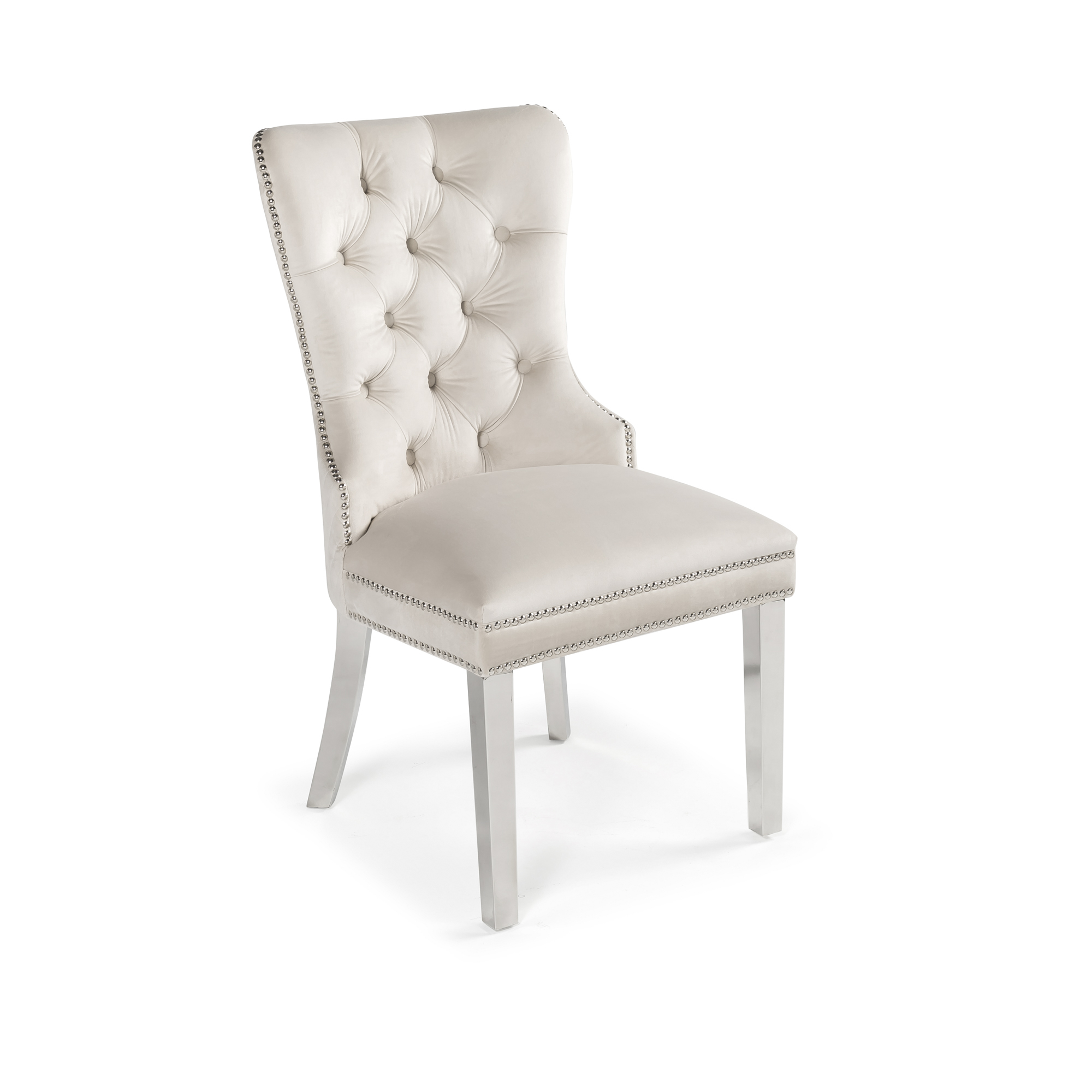 Hale Quilted Cream Brushed Velvet Dining Chair with Knocker Handle
