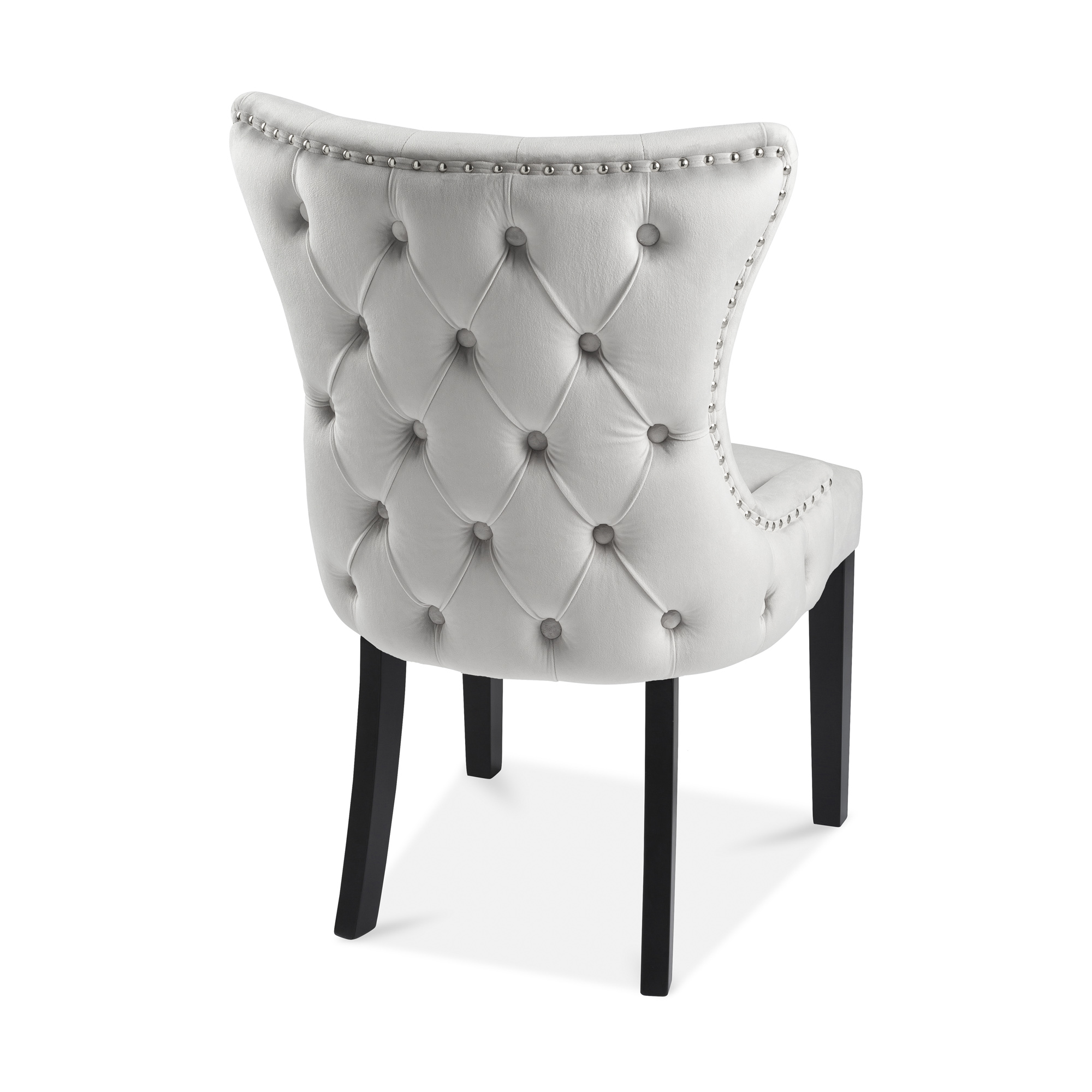 Knightsbridge Buttoned Brushed Velvet Dining Chair in Dove Grey