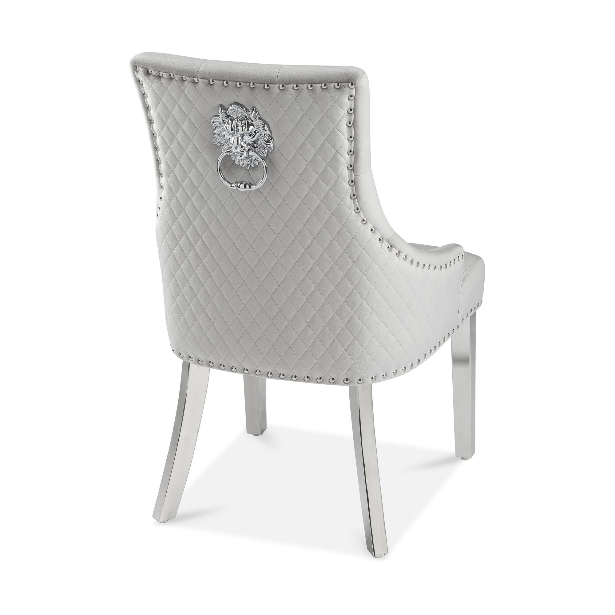 Chelsea Brushed Velvet Lion Knocker Dining Chair in Dove Grey
