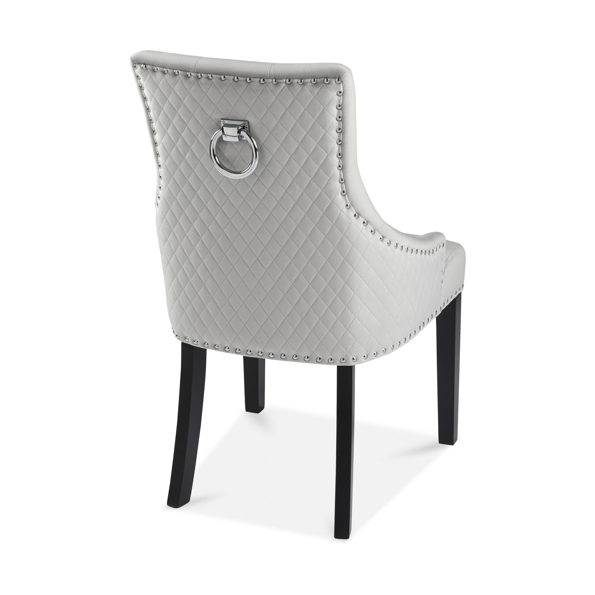 Chelsea Brushed Velvet Upholstered Scoop Dining Chair – Dove Grey – Diamond Stitch – Hoop